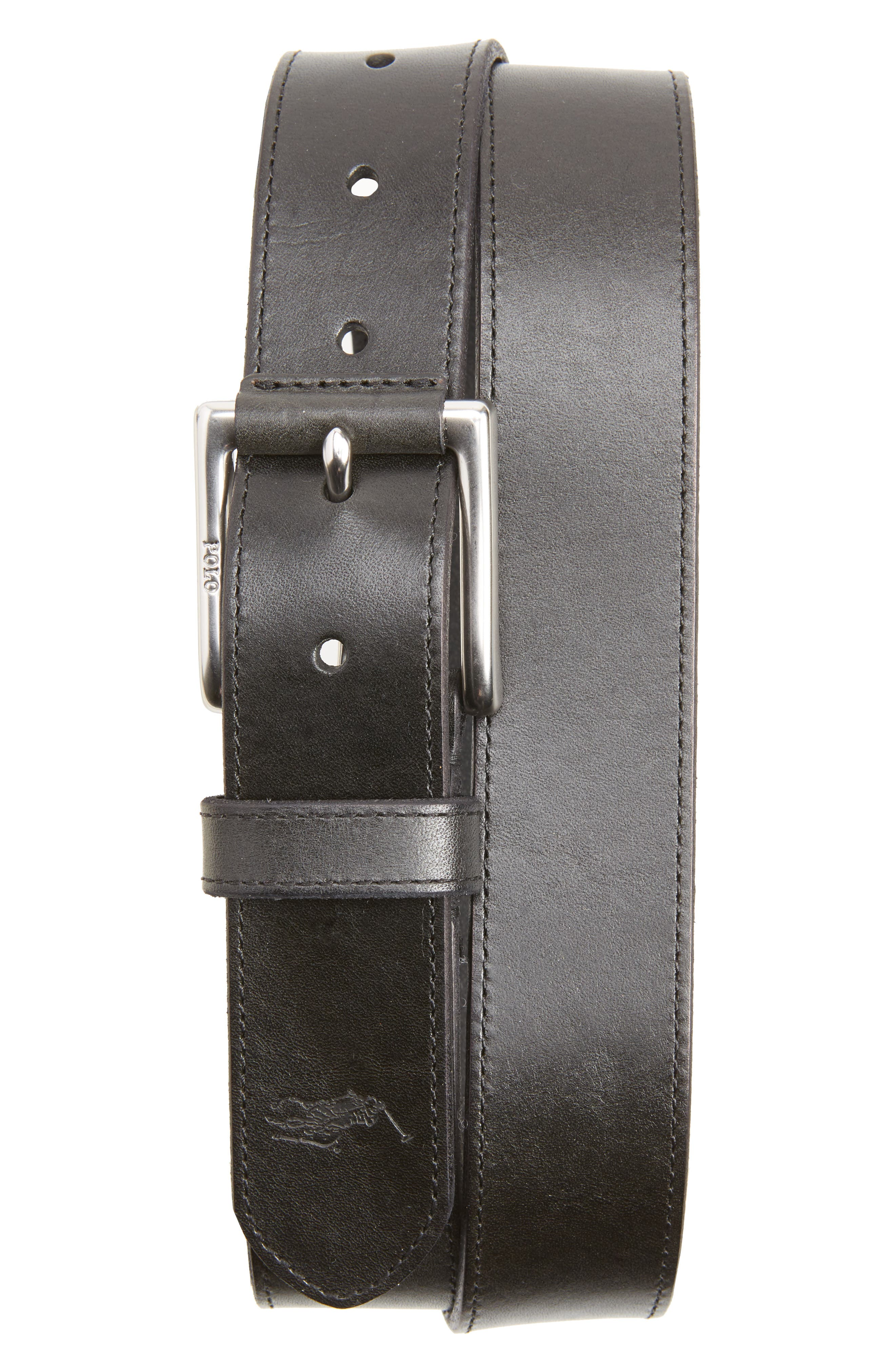 Casual Leather Belt,                             Main thumbnail 1, color,                             001