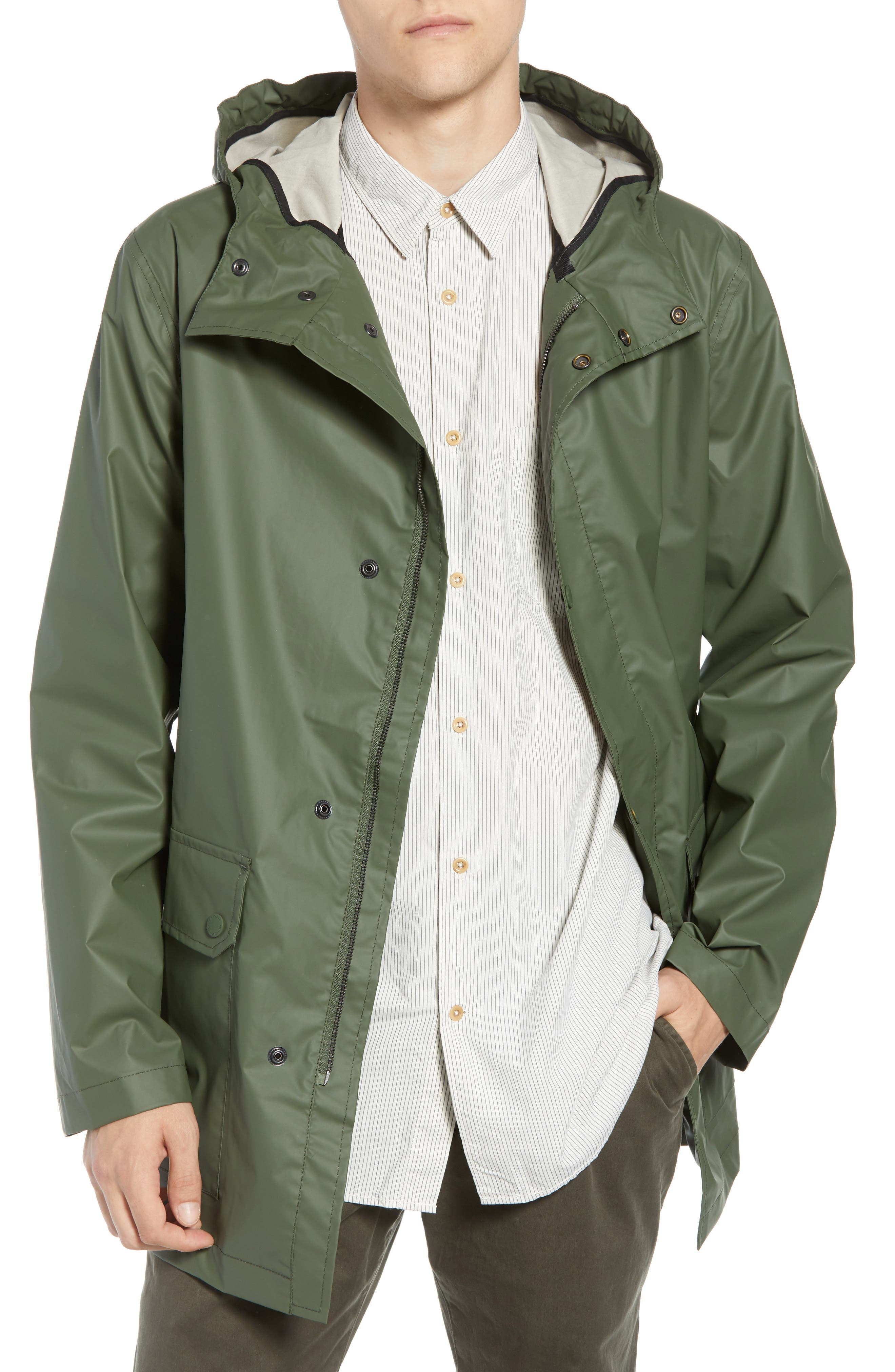 FRENCH CONNECTION Rubber Coated Raincoat, Main, color, 300