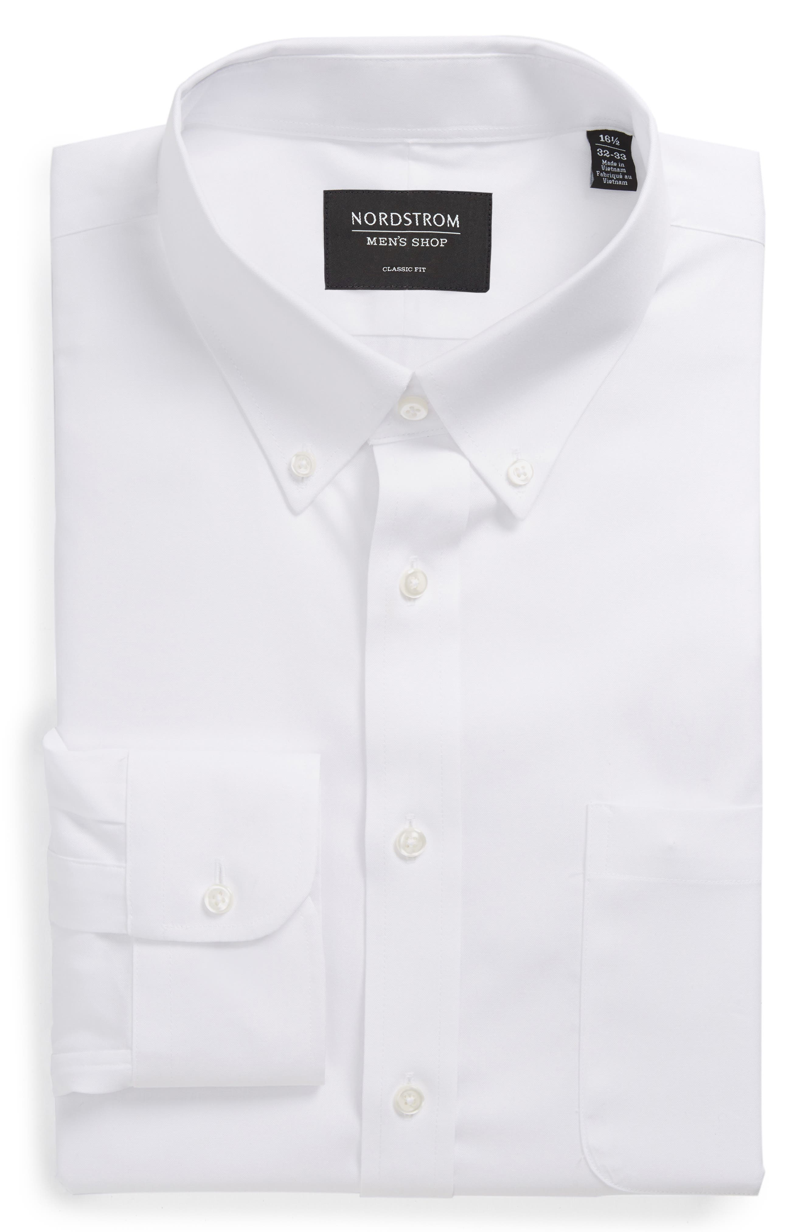 Classic Fit Non-Iron Solid Dress Shirt,                             Alternate thumbnail 6, color,                             WHITE