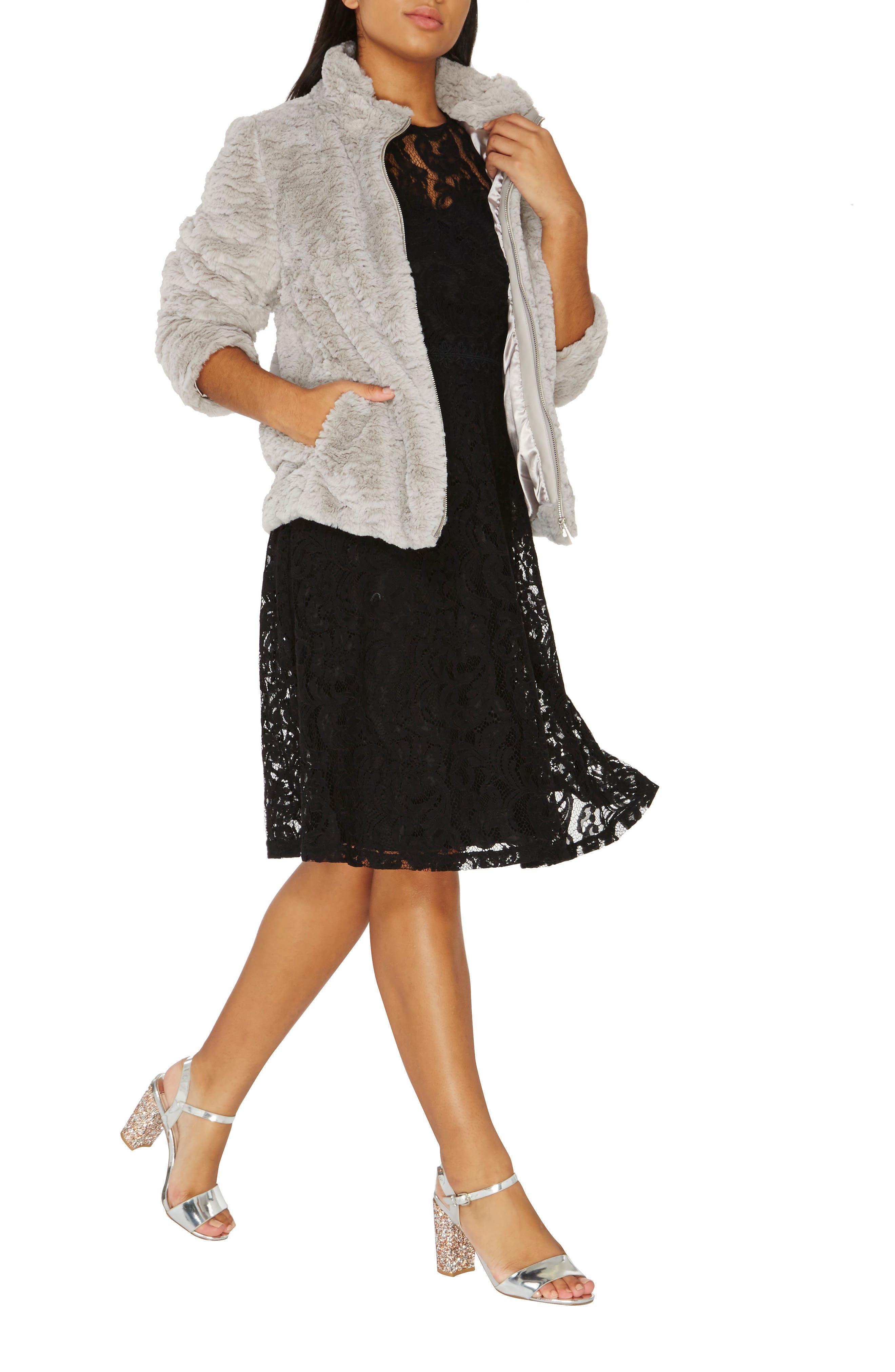 Faux Fur Funnel Collar Jacket,                             Alternate thumbnail 5, color,                             040