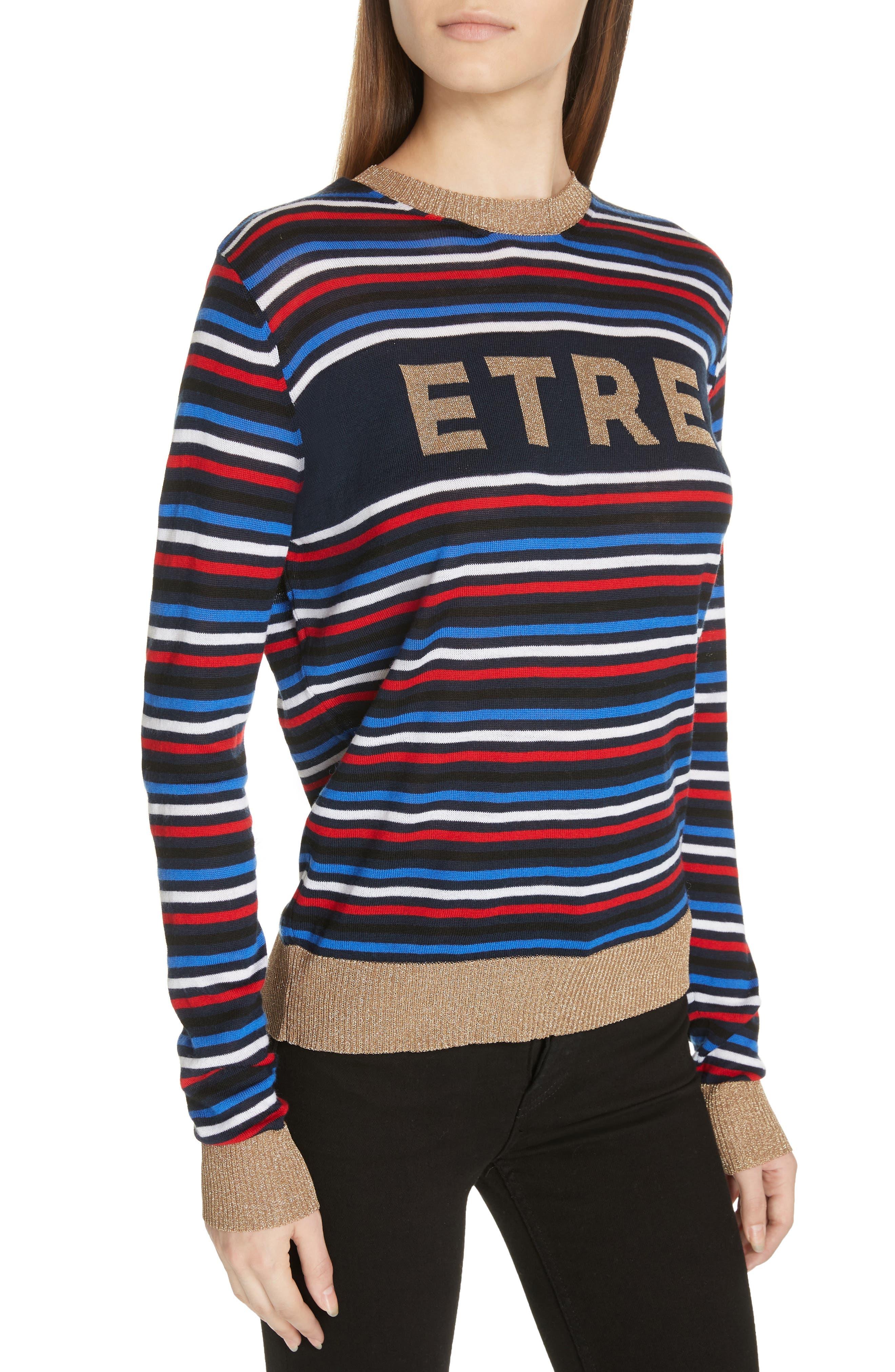 Stripe Knit Boyfriend Sweater,                             Alternate thumbnail 4, color,                             NAVY MULTI STRIPE