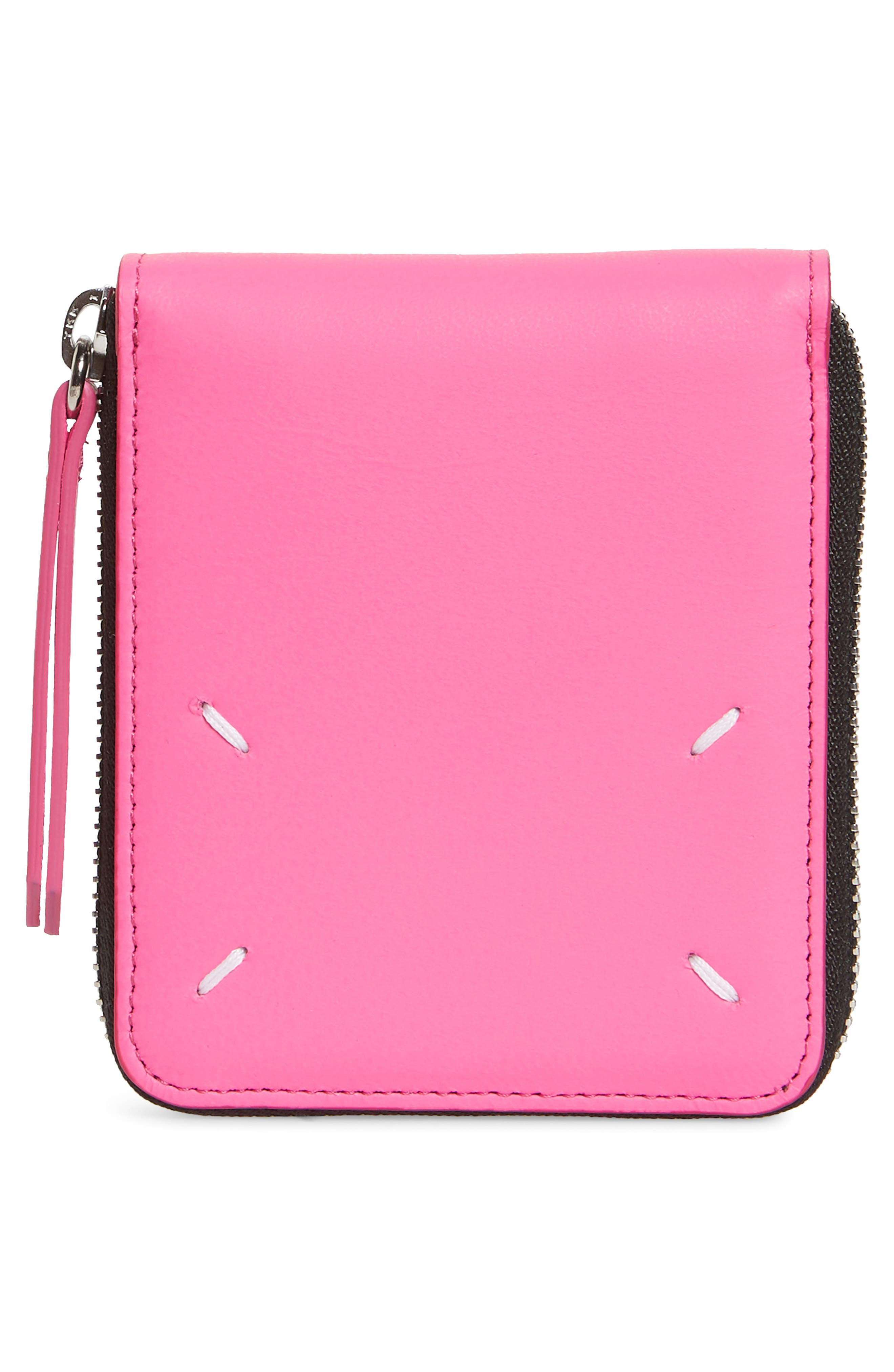 Faux Leather French Wallet,                             Alternate thumbnail 4, color,                             PINK