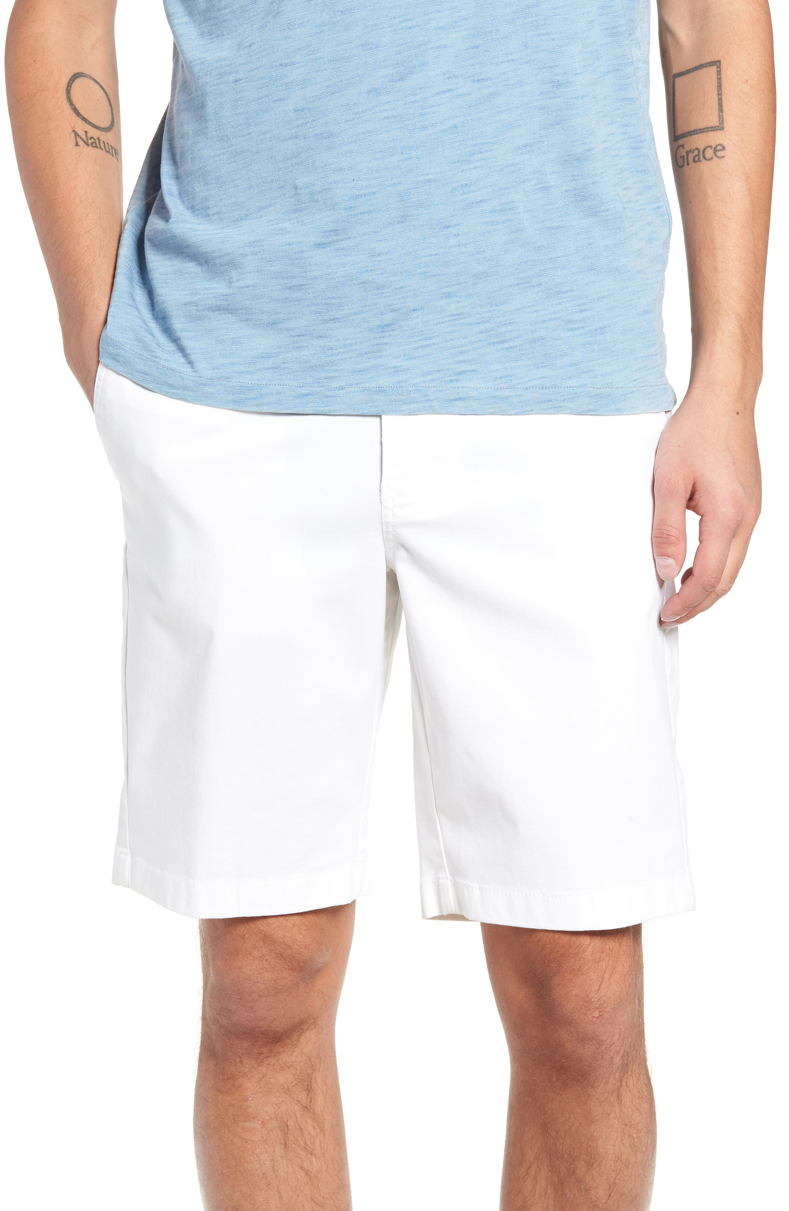 Flat Front Shorts,                         Main,                         color, WHITE