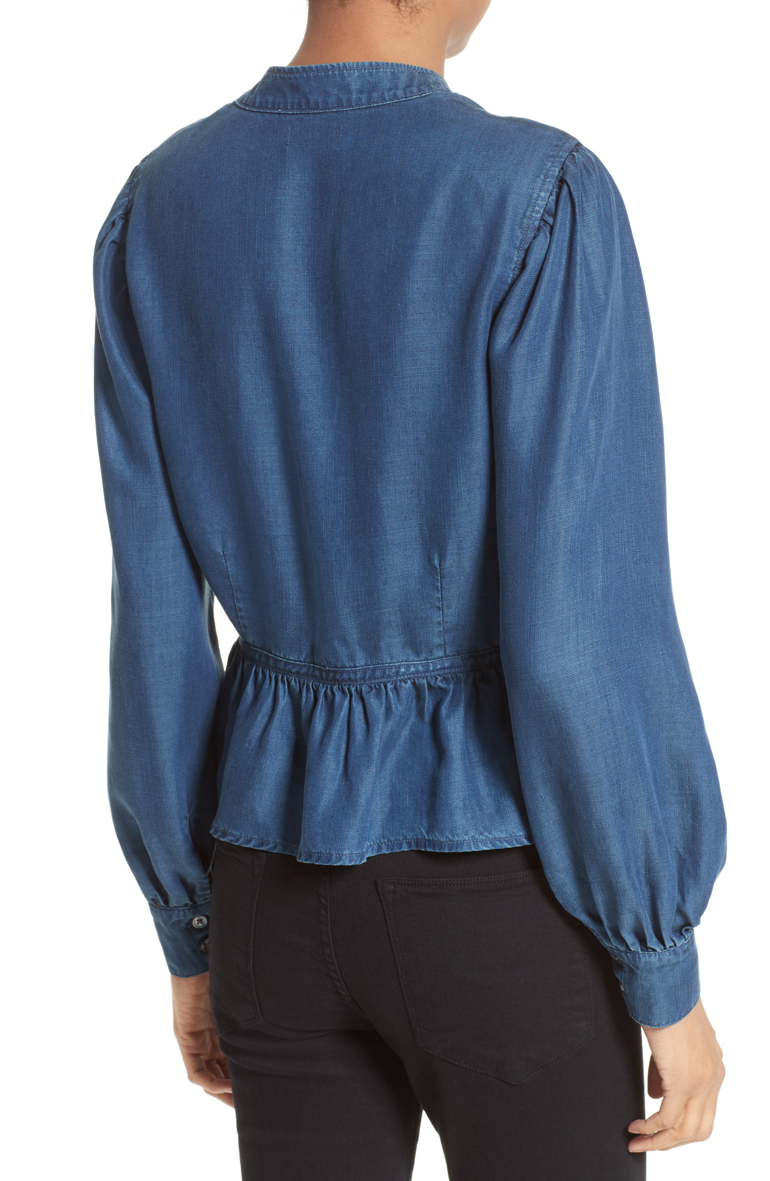 Chambray Peplum Top,                             Alternate thumbnail 2, color,                             401