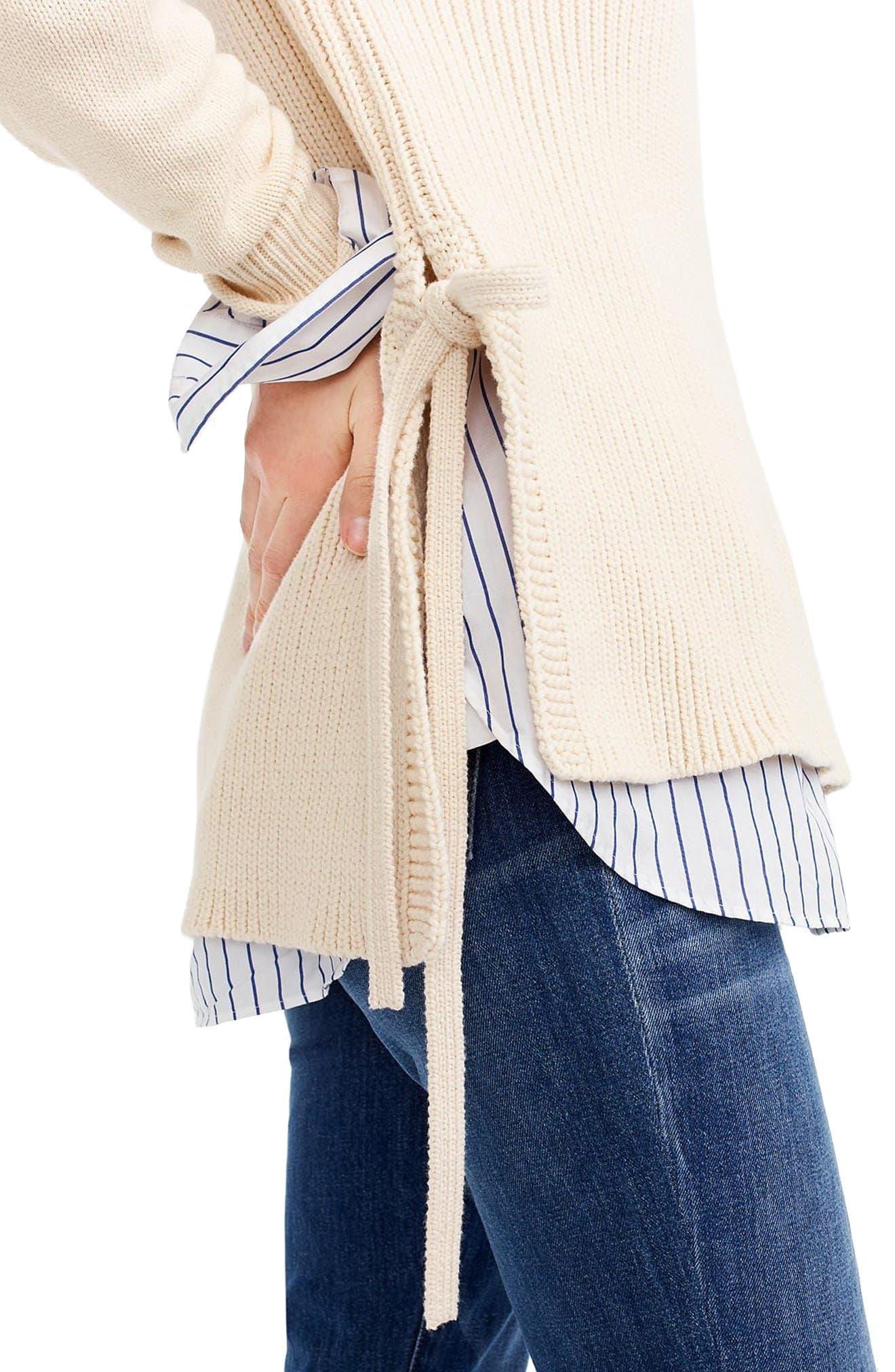 Side Tie Crewneck Sweater,                             Alternate thumbnail 4, color,