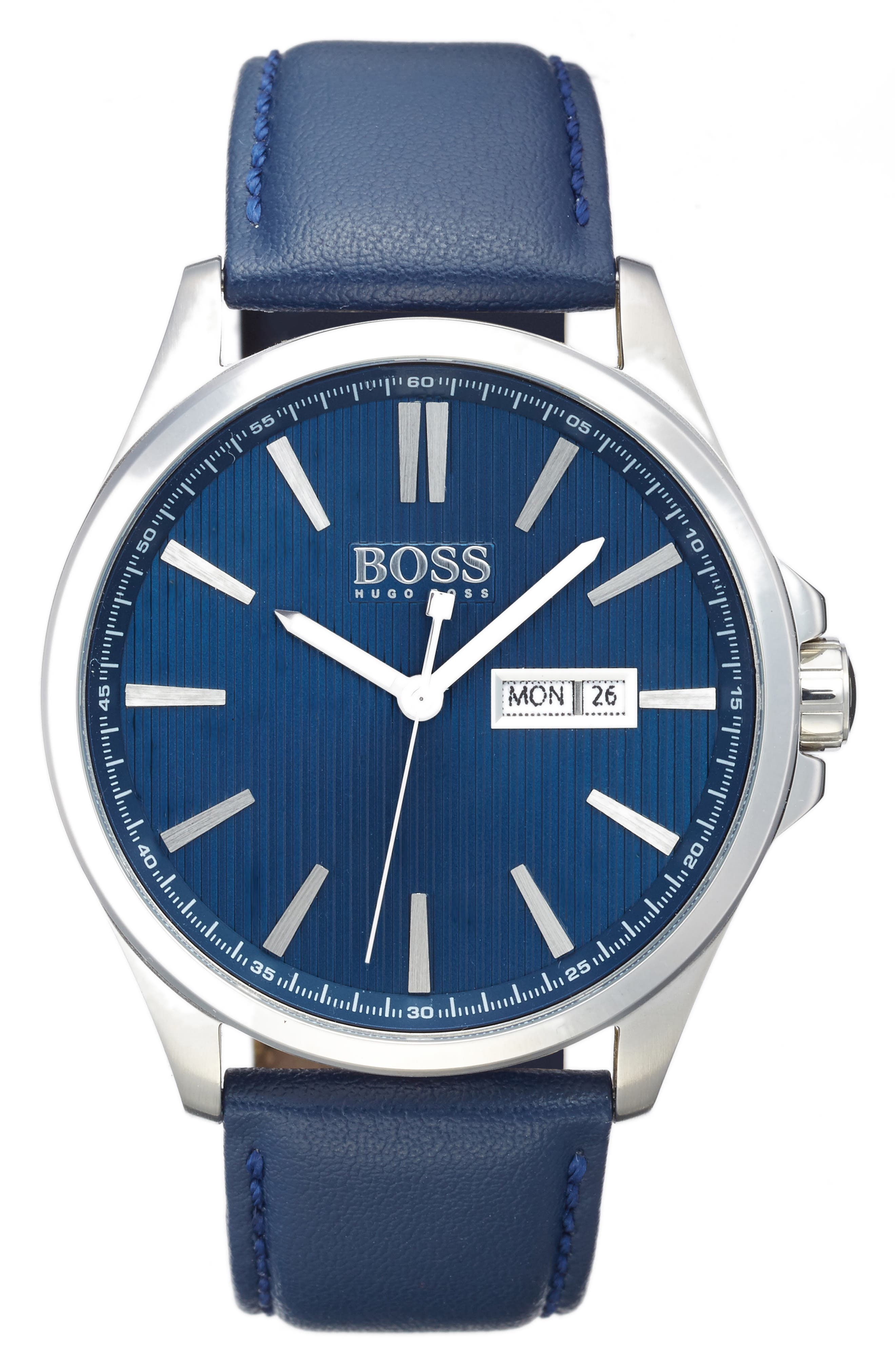 BOSS The James Leather Strap Watch, 42mm,                             Main thumbnail 1, color,                             001