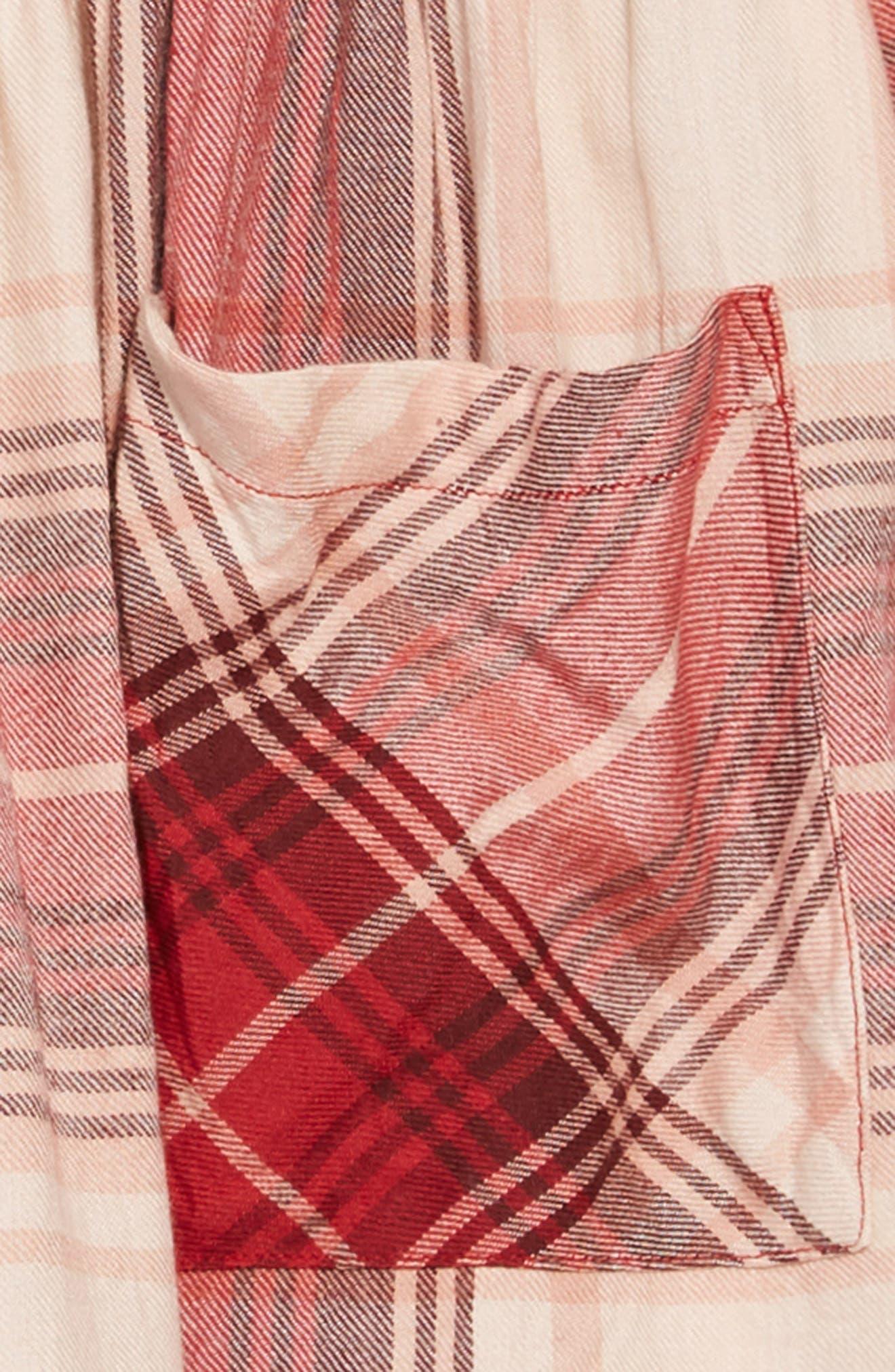 Natalie Plaid Dress,                             Alternate thumbnail 3, color,                             MAROON