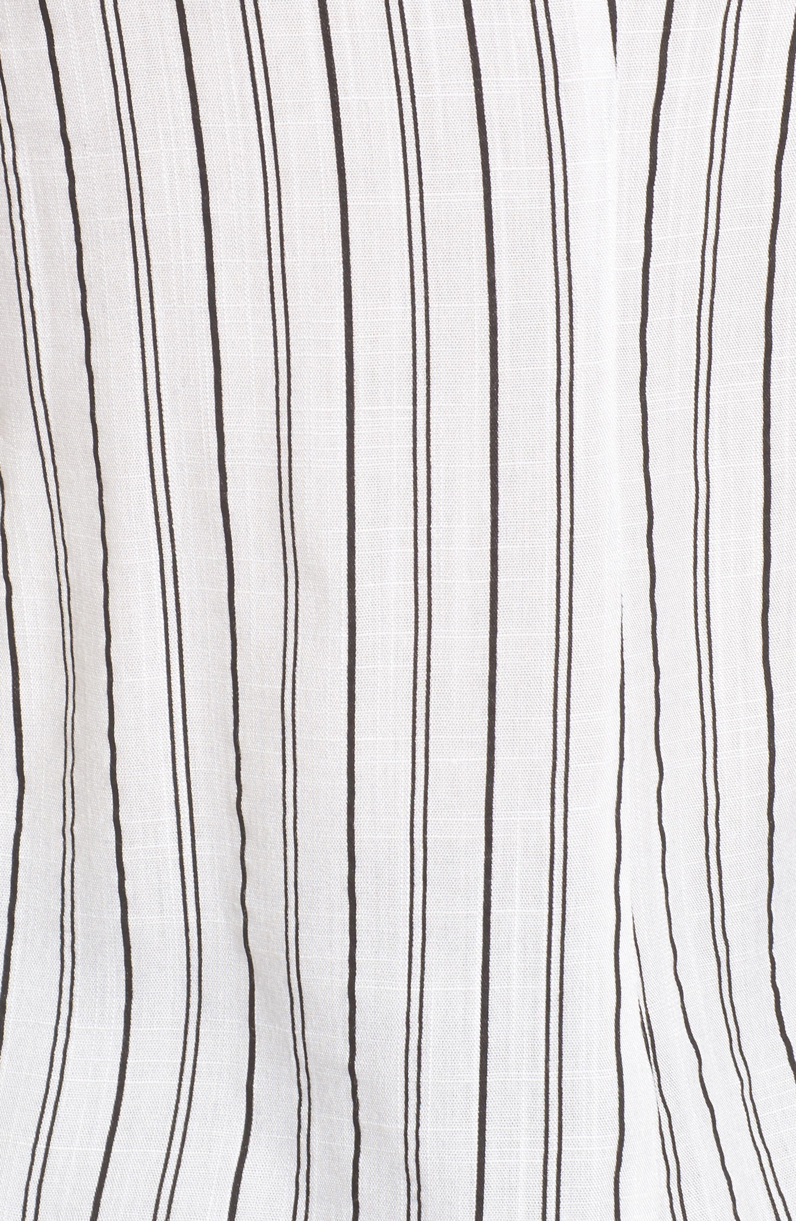 Stripe Tie Waist Off the Shoulder Shirt,                             Alternate thumbnail 5, color,                             100