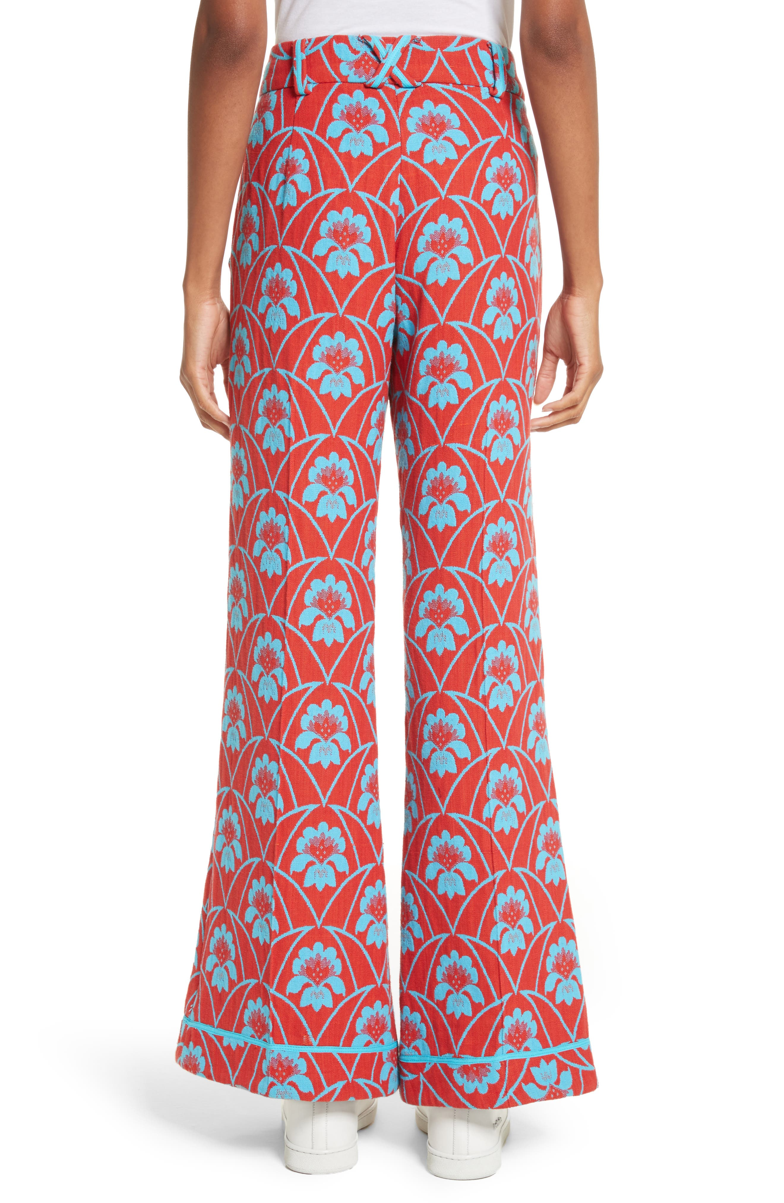 Floral Flare Trousers,                             Alternate thumbnail 2, color,
