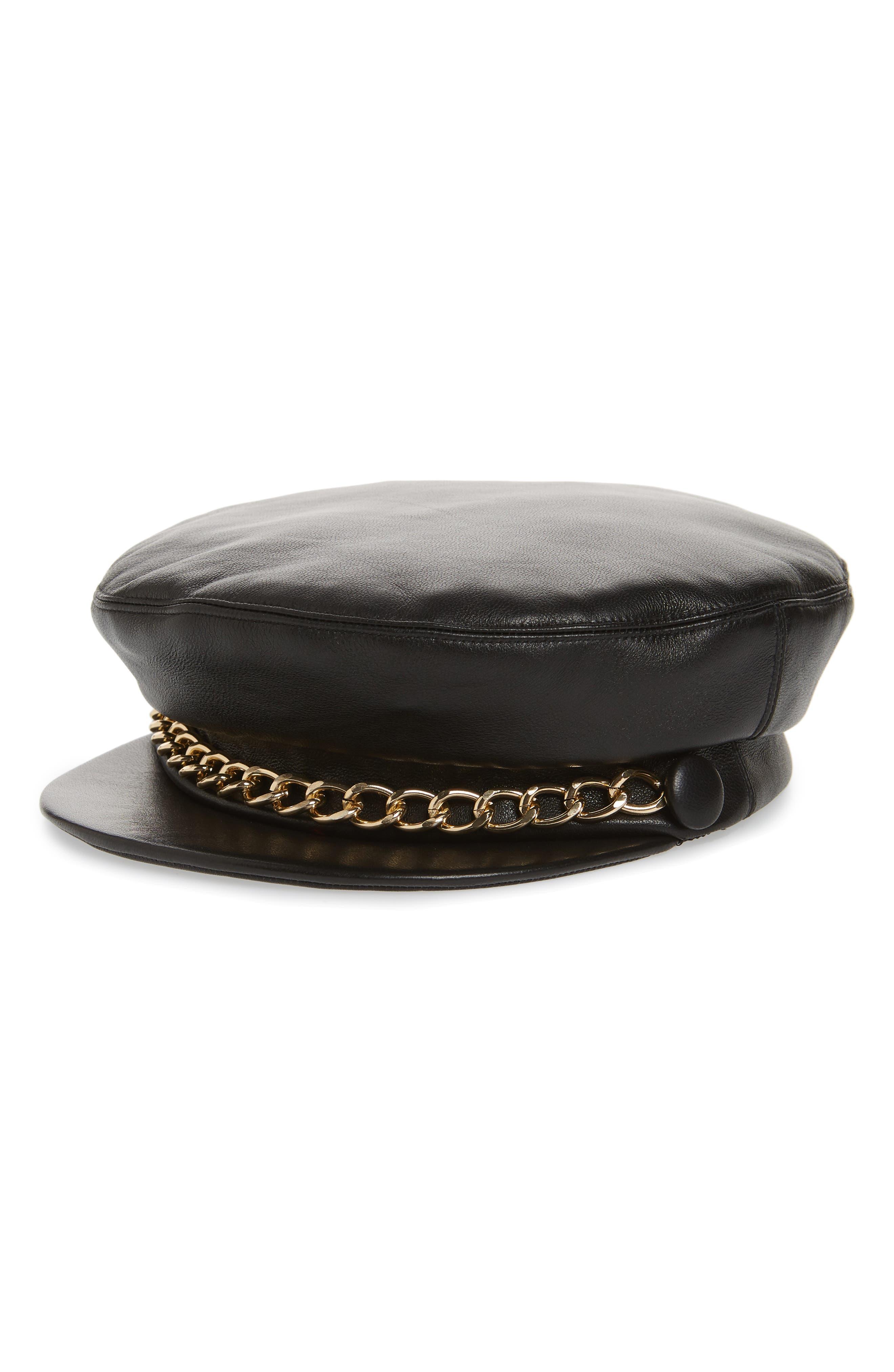 Marina Leather Baker Boy Cap,                         Main,                         color, BLACK