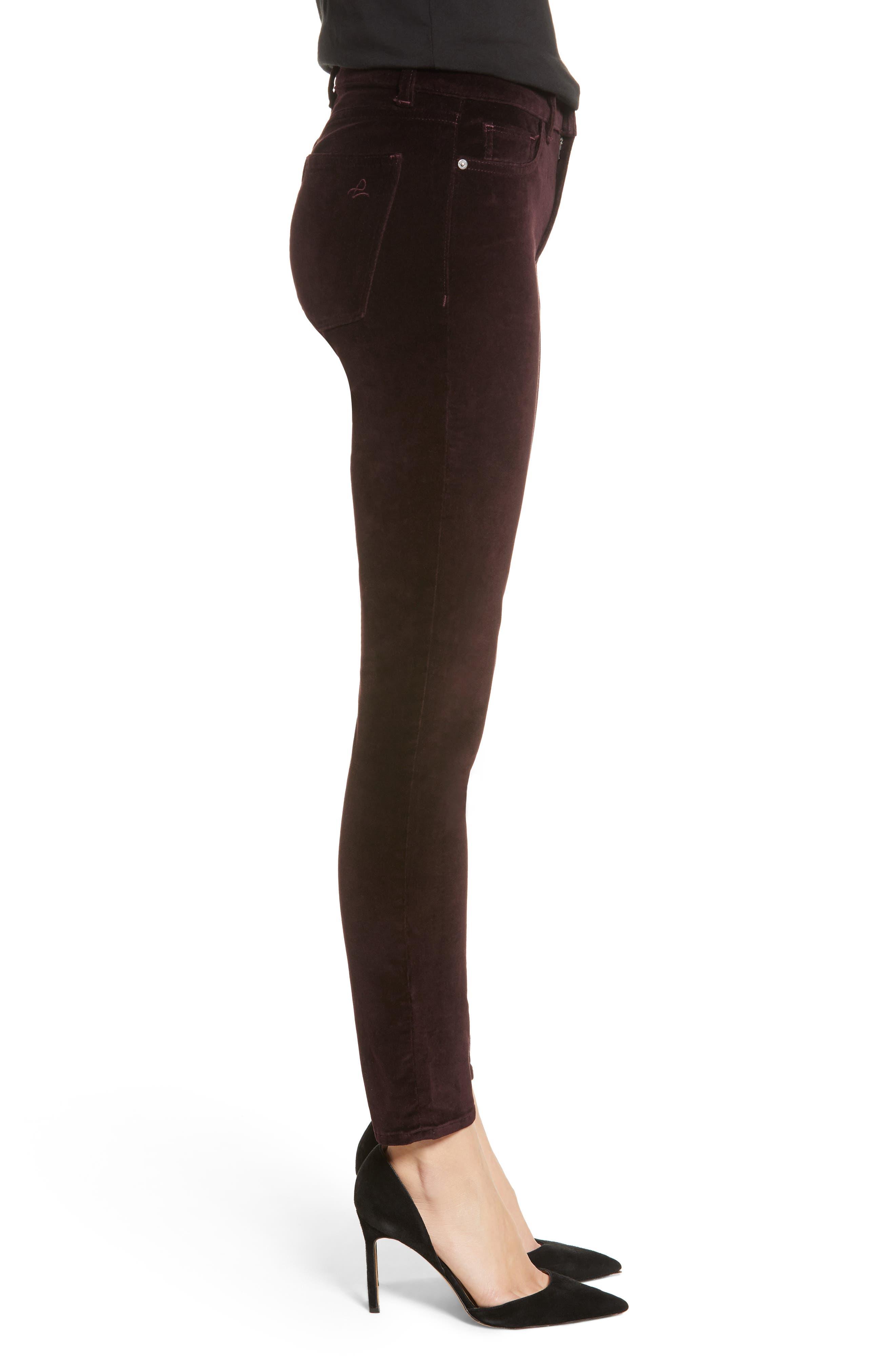Margaux Instasculpt Ankle Skinny Velvet Pants,                             Alternate thumbnail 3, color,                             DARK PURPLE