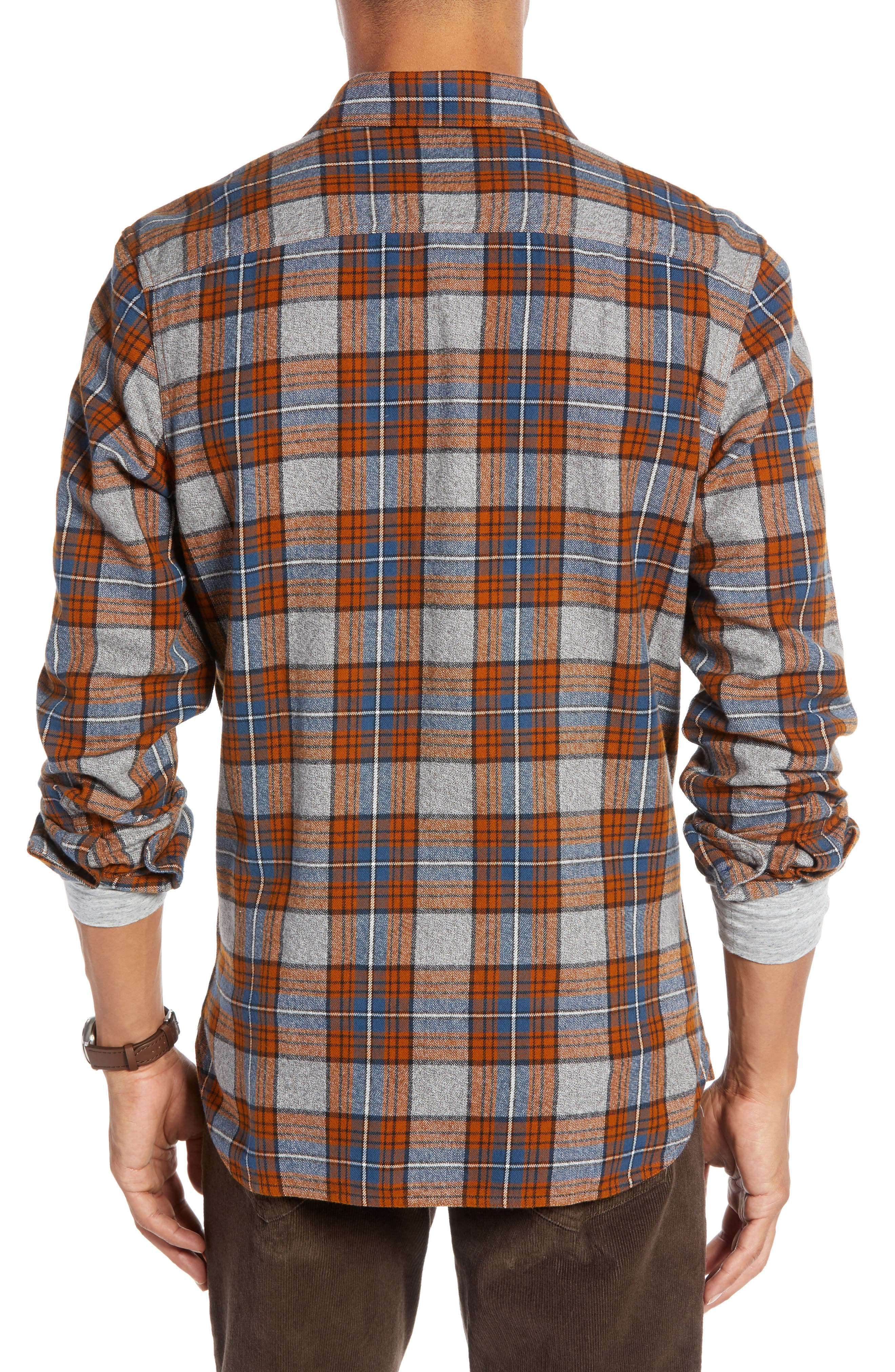 Regular Fit Workwear Plaid Flannel Shirt,                             Alternate thumbnail 2, color,                             RUST AUTUMN BLUE PLAID