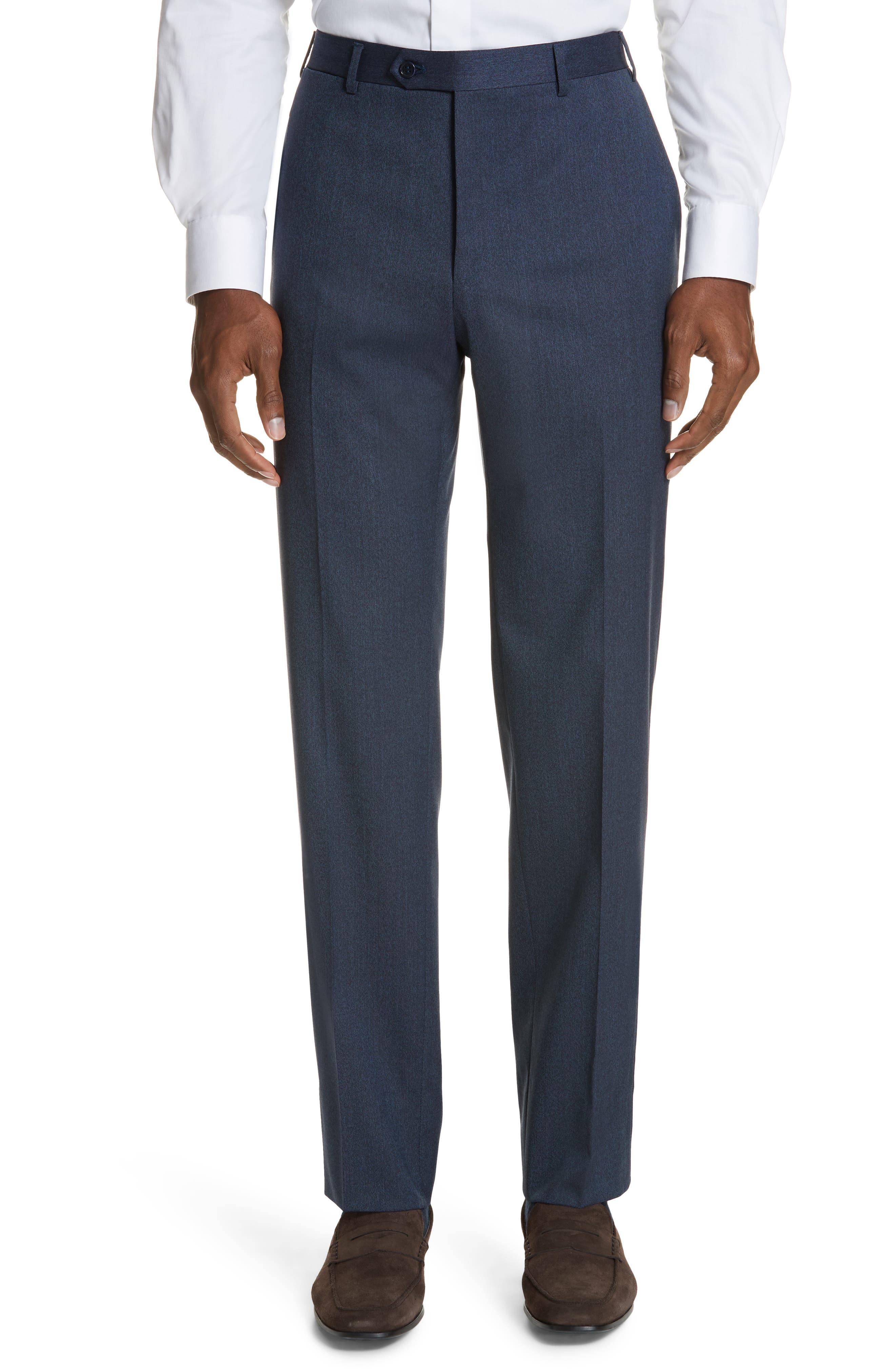 Cavaltry Flat Front Solid Stretch Wool Trousers,                             Main thumbnail 1, color,                             DARK BLUE