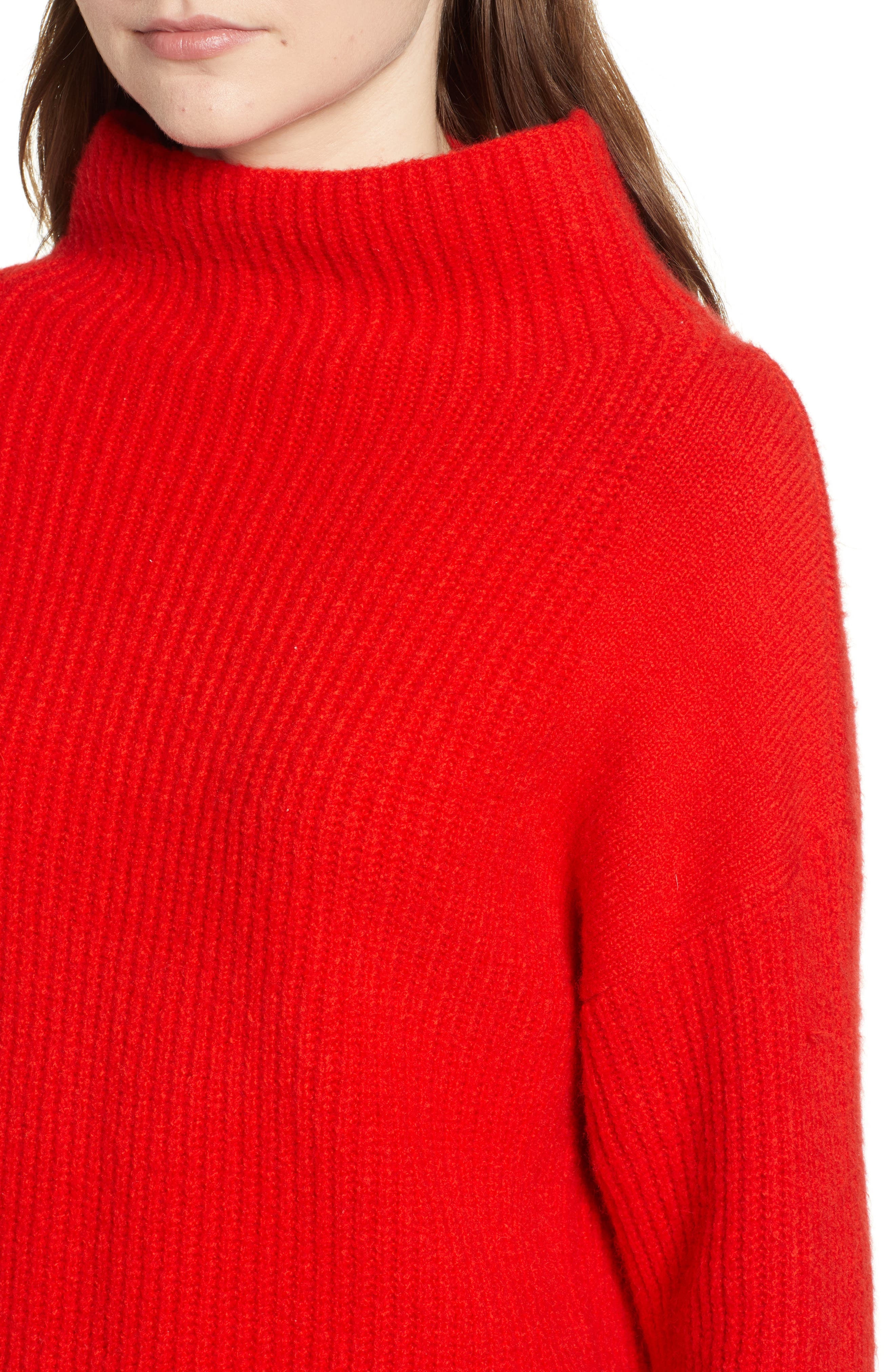 Rib Funnel Neck Sweater,                             Alternate thumbnail 4, color,                             610