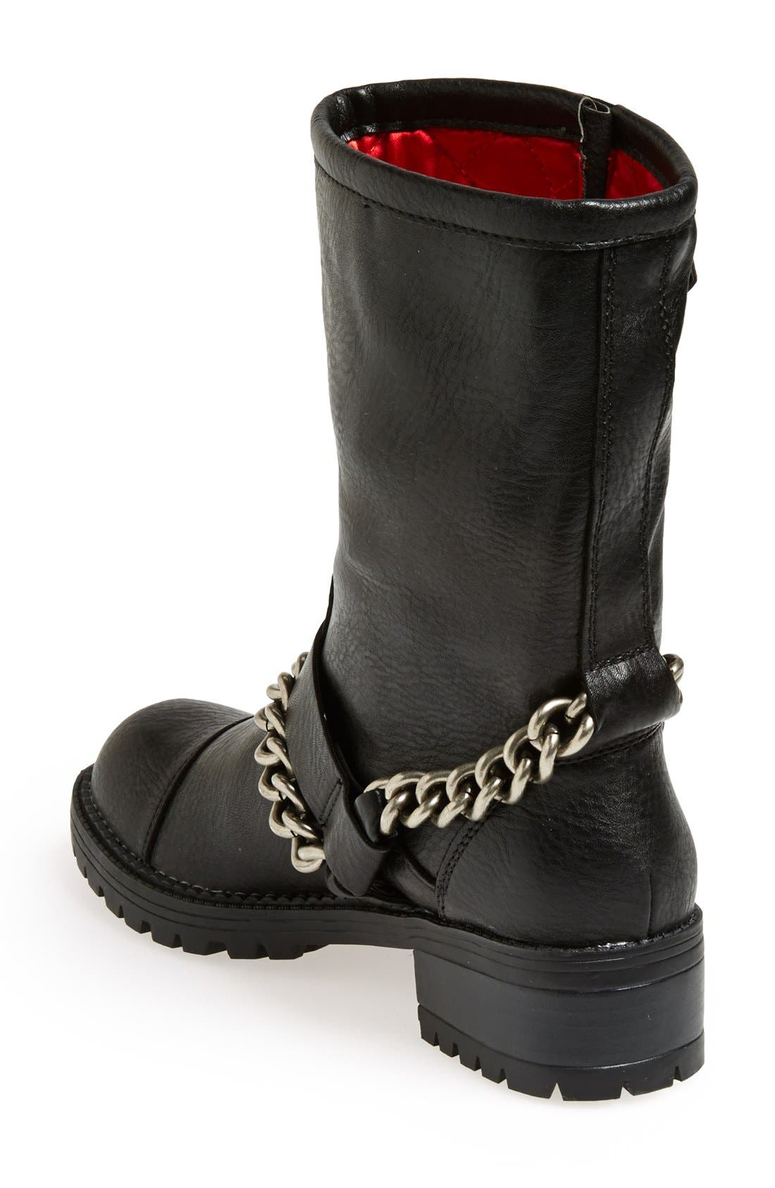 KENDALL + KYLIE Madden Girl 'Bedforrd' Chain Wrapped Biker Bootie,                             Alternate thumbnail 4, color,                             003