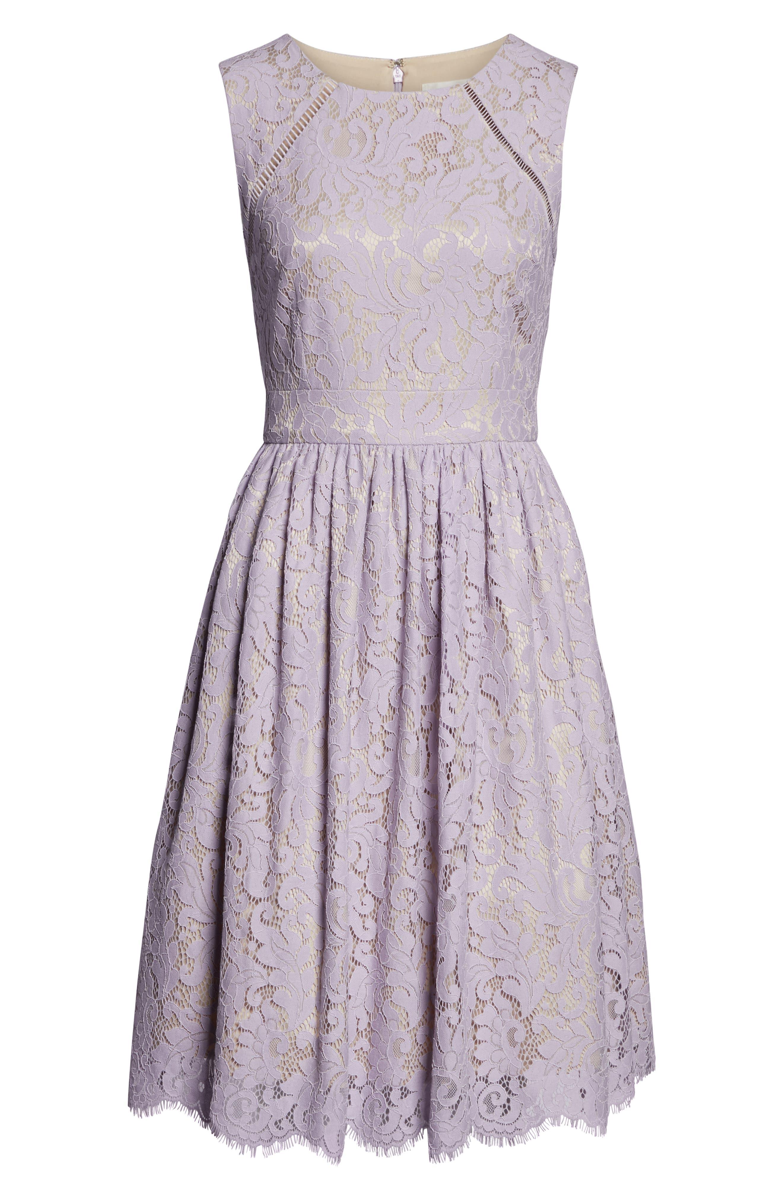 ELIZA J,                             Lace Fit & Flare Dress,                             Alternate thumbnail 7, color,                             LAVENDER
