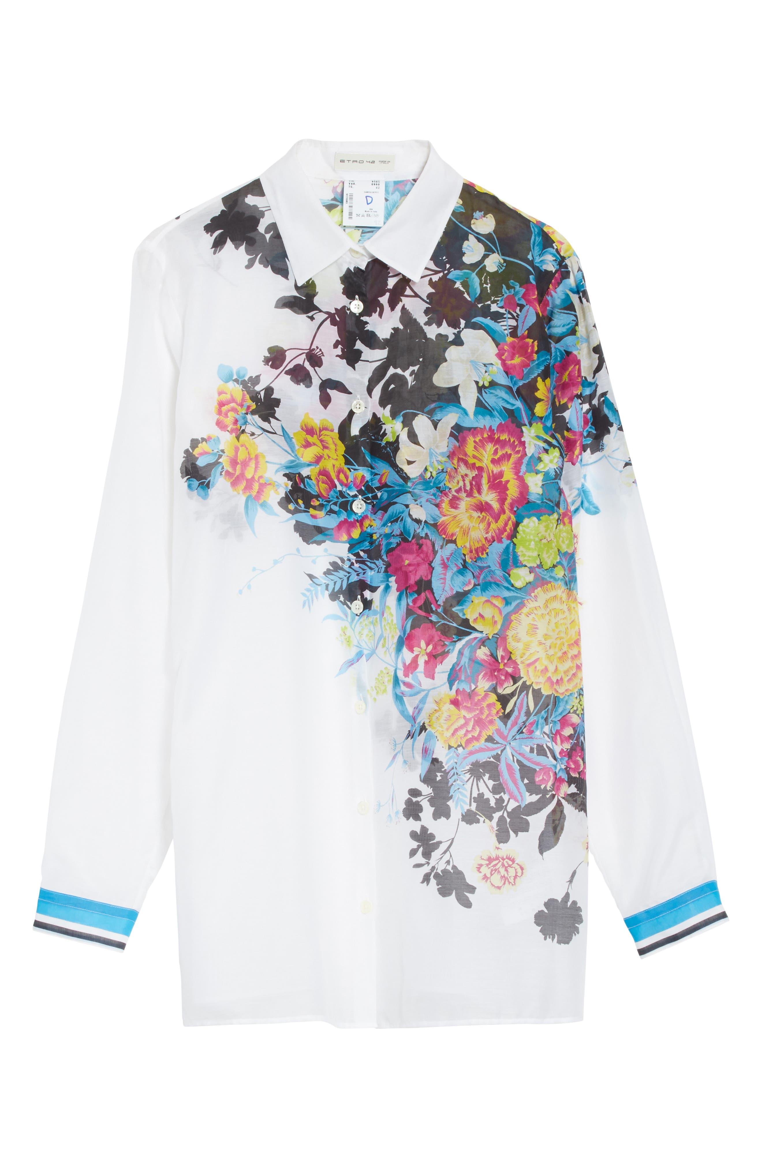 Floral Print Cotton & Silk Blouse,                             Alternate thumbnail 6, color,                             100