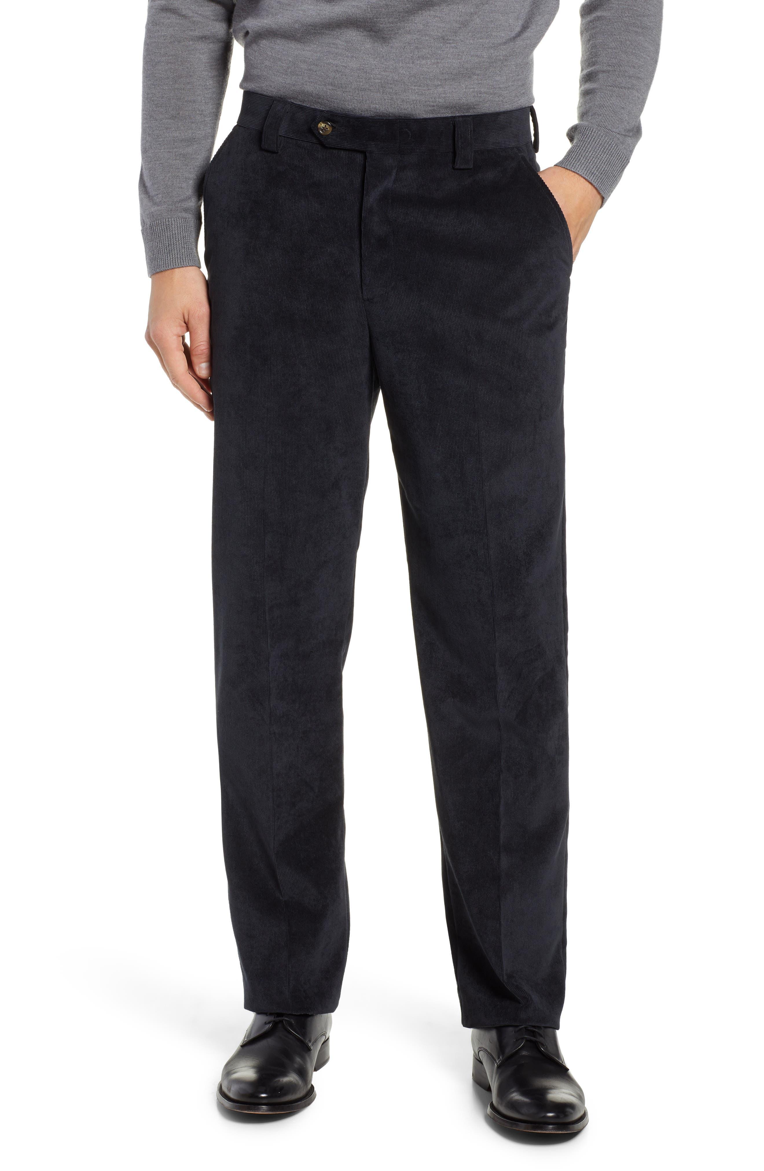 Classic Fit Flat Front Corduroy Trousers,                             Main thumbnail 1, color,                             BLACK