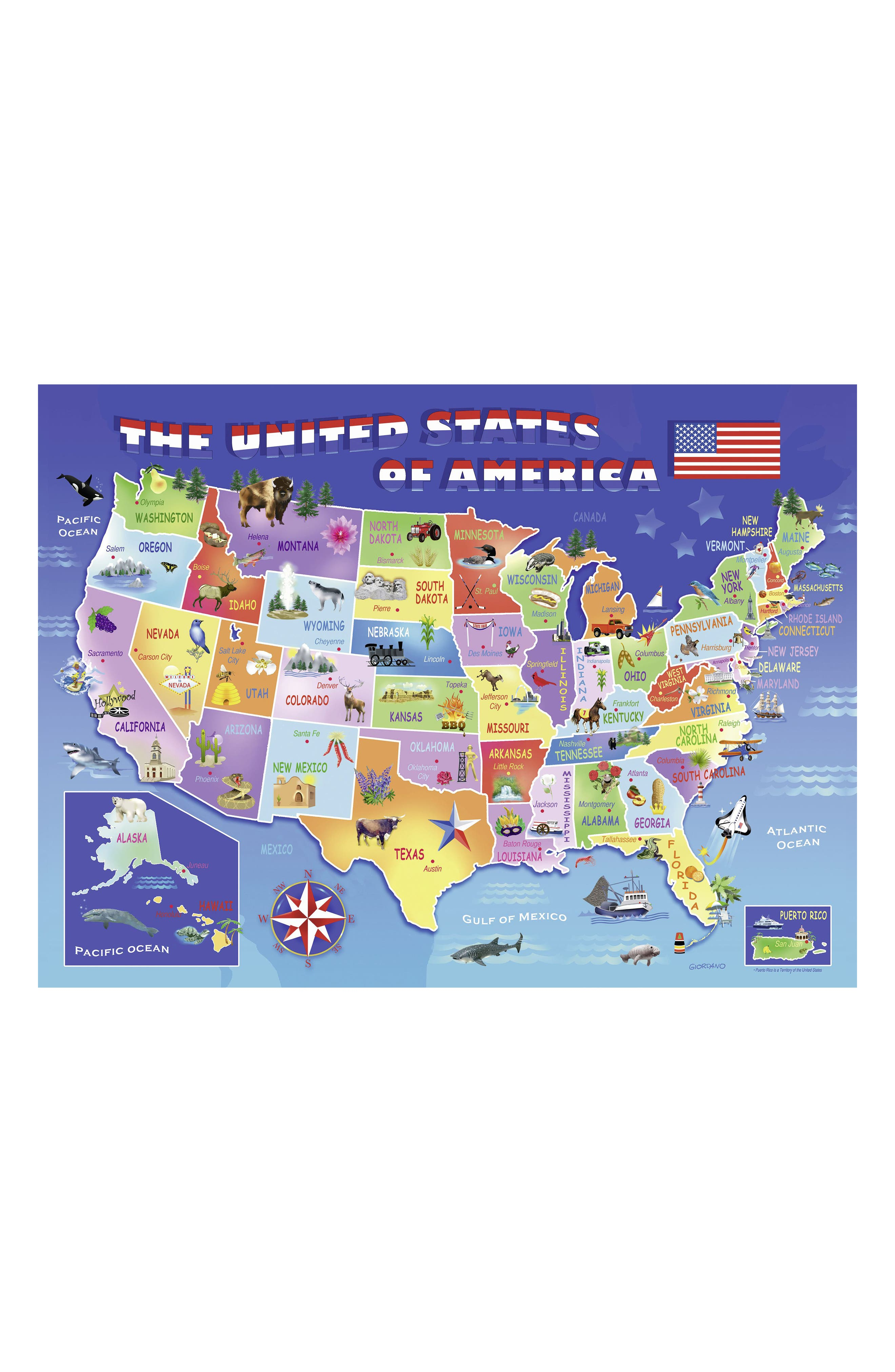 USA State Map 100-Piece Puzzle,                             Alternate thumbnail 2, color,