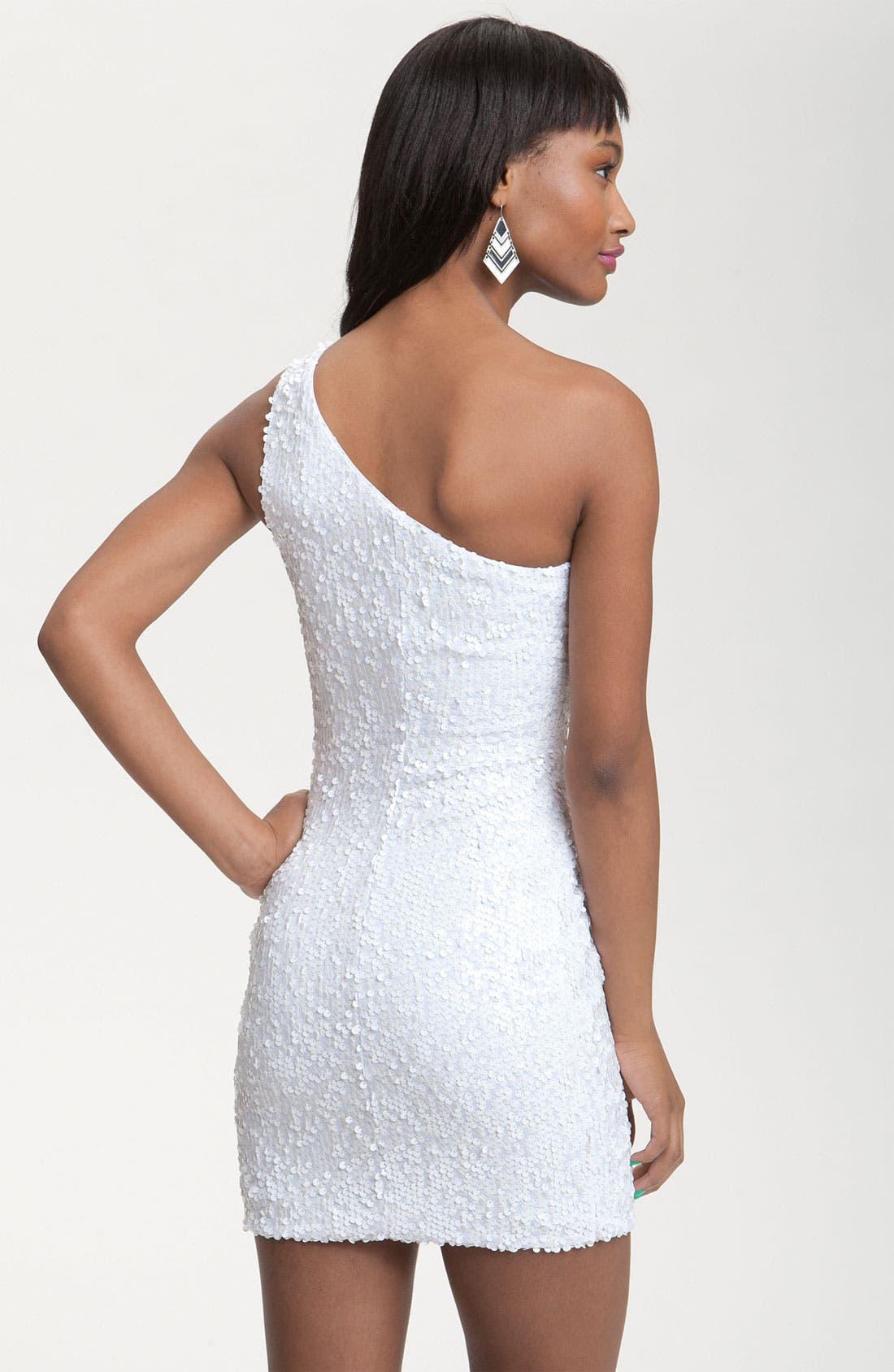 One Shoulder Sequin Knot Dress,                             Alternate thumbnail 2, color,                             100