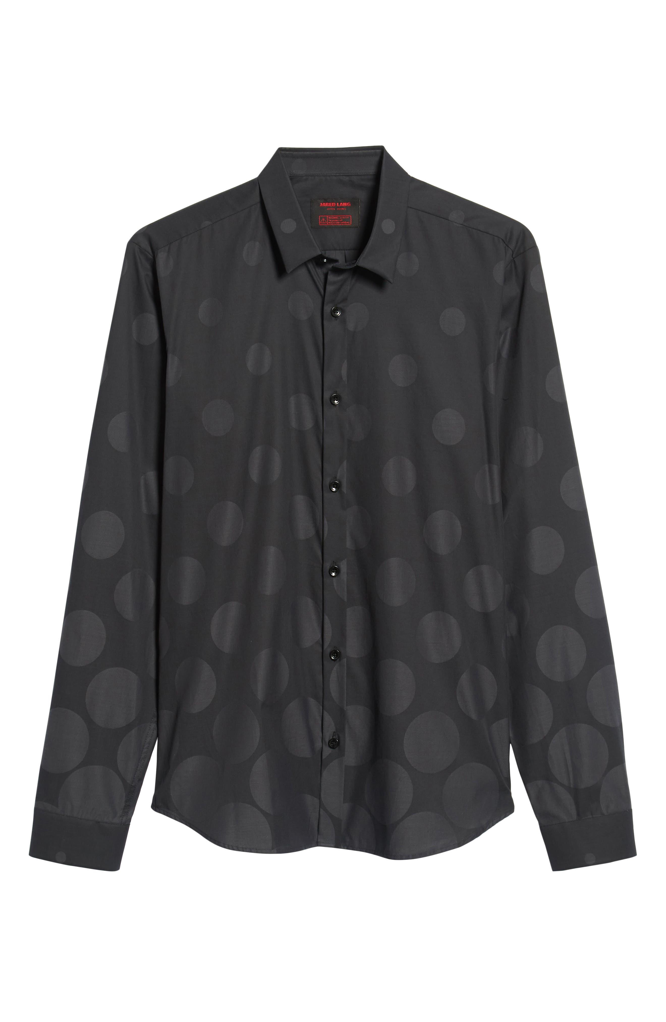 Print Sport Shirt,                             Alternate thumbnail 5, color,                             BLACK GRADUATED POLKA DOT