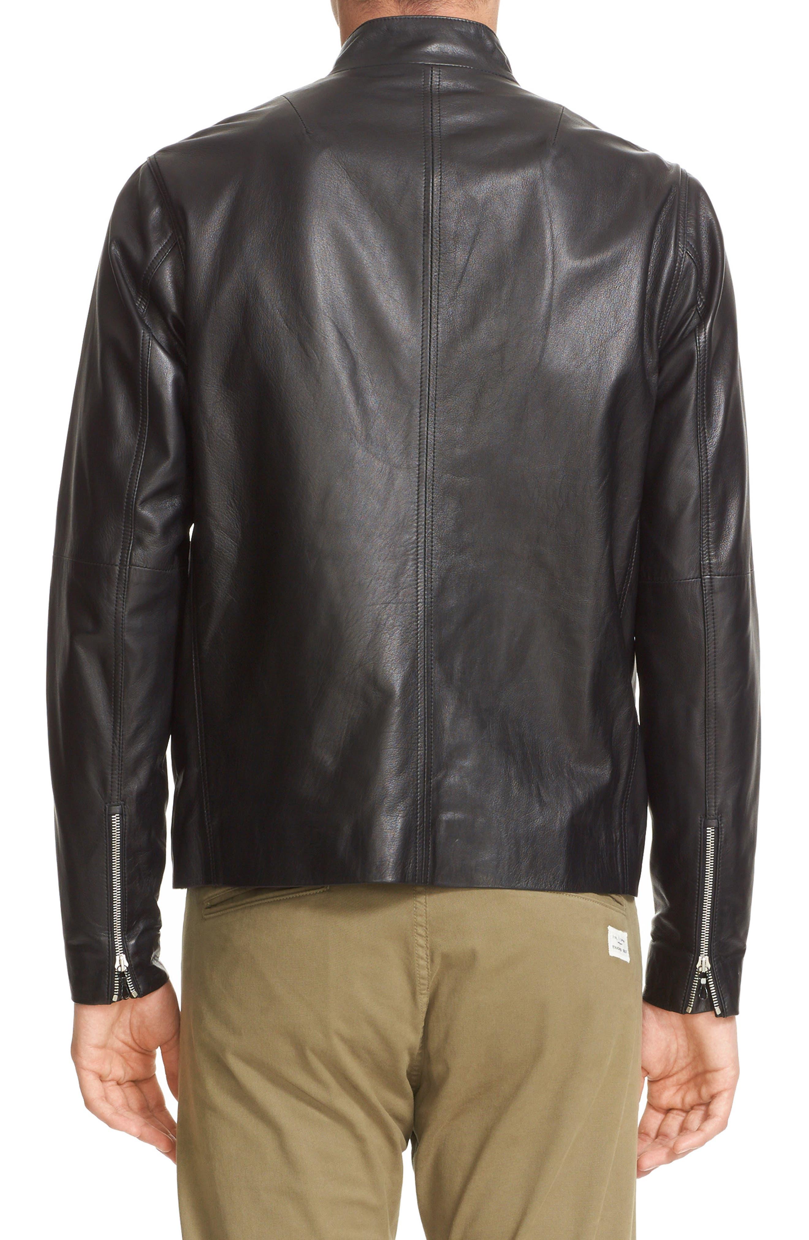 Agnes Lambskin Leather Jacket,                             Alternate thumbnail 2, color,                             BLACK
