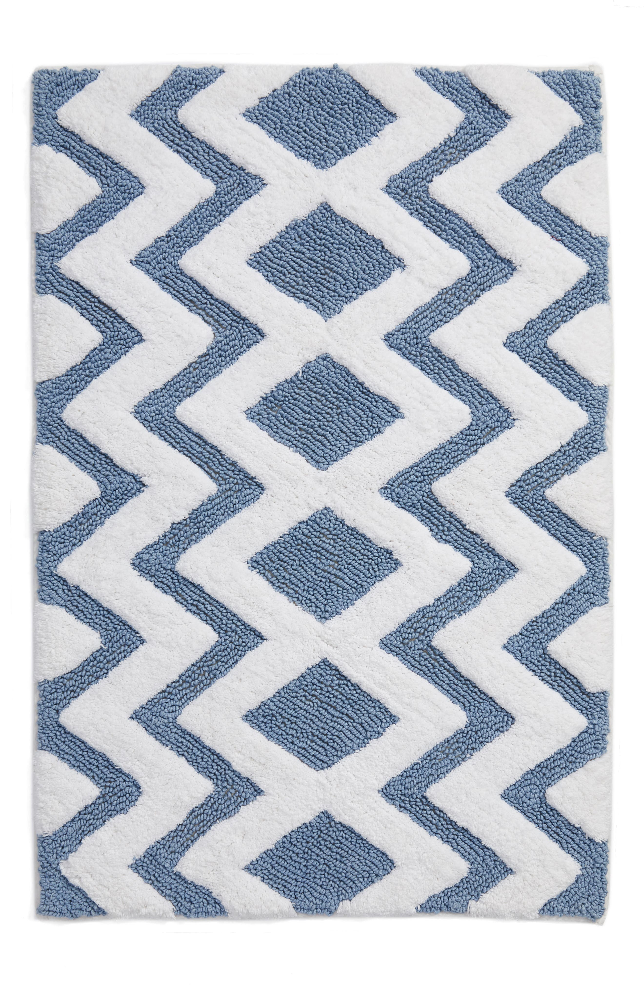 Geo Pattern Rug,                         Main,                         color, BLUE CHAMBRAY