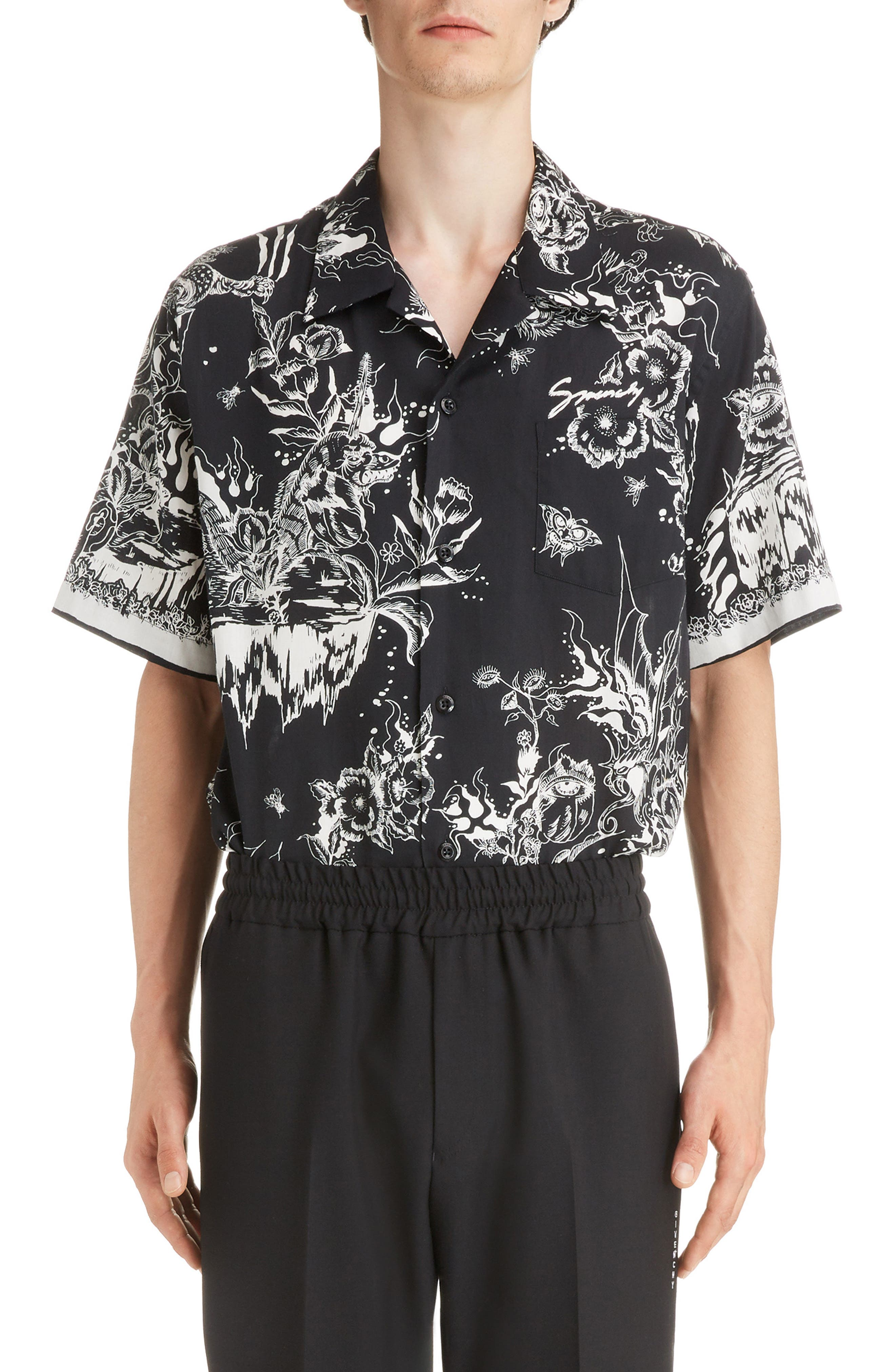 Dragon Sky Camp Shirt, Main, color, BLACK
