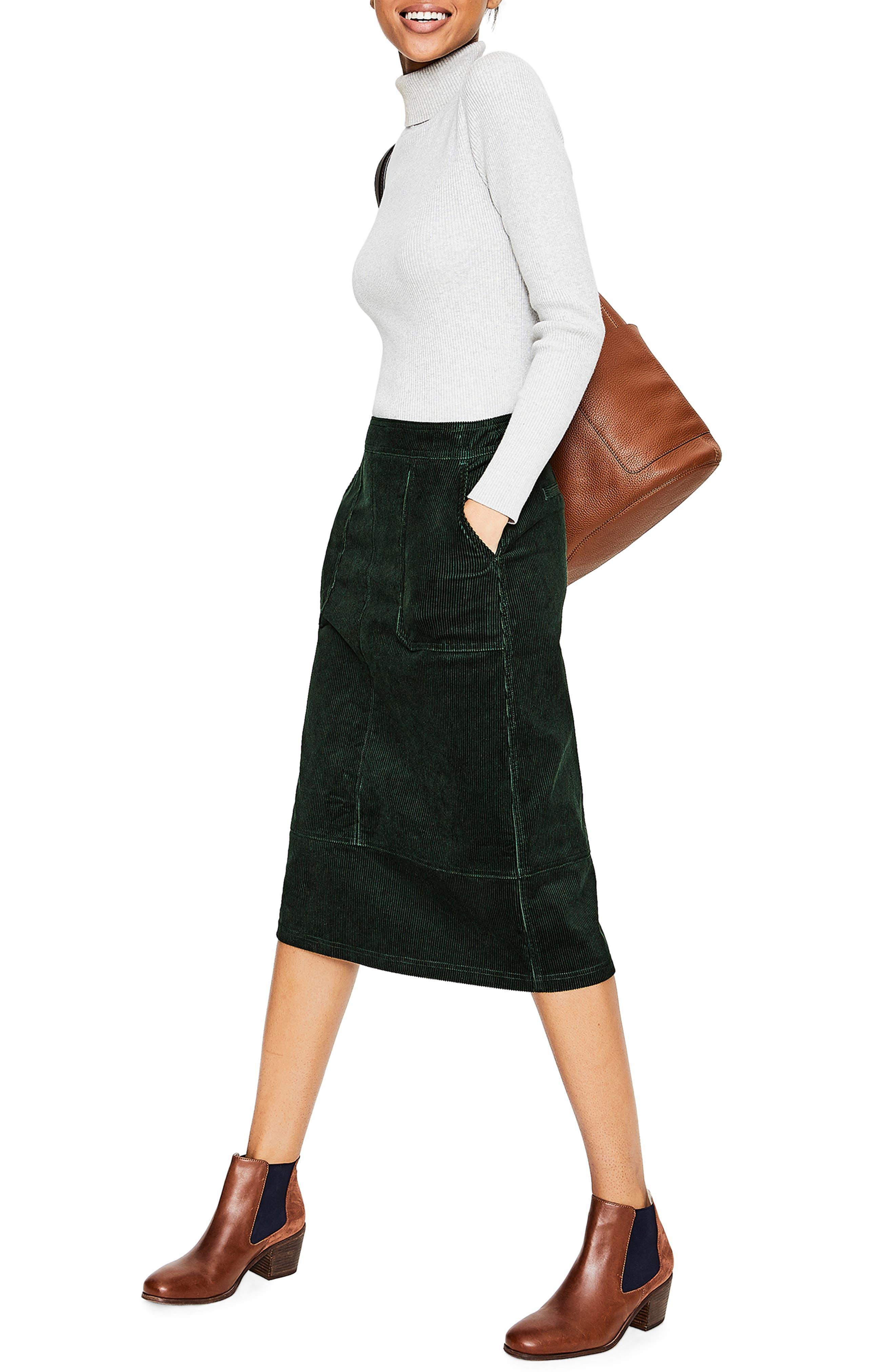 Patch Pocket Corduroy Midi Skirt,                             Alternate thumbnail 3, color,                             CHATSWORTH GREEN