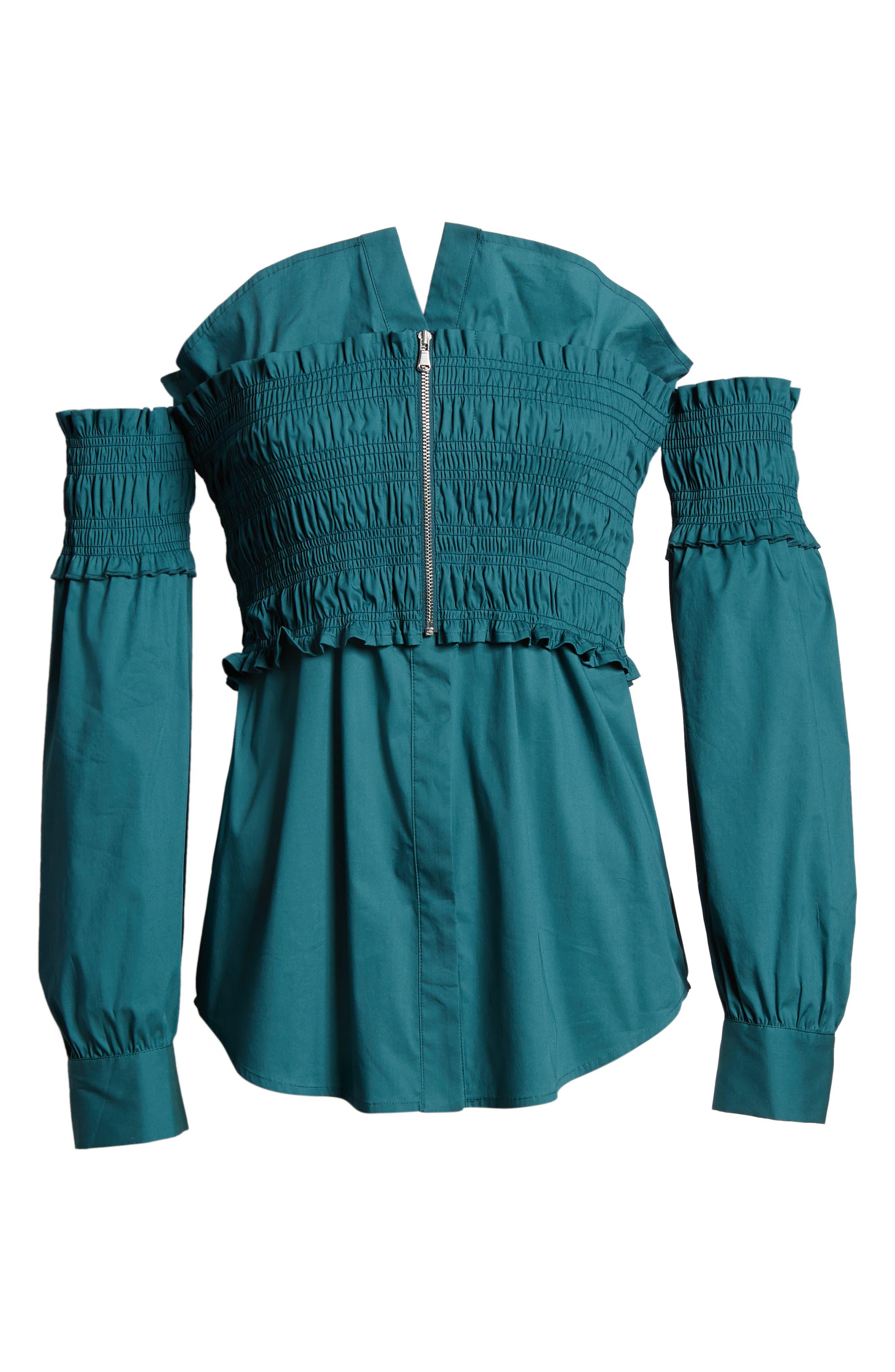 Smocked Corset Shirt,                             Alternate thumbnail 13, color,