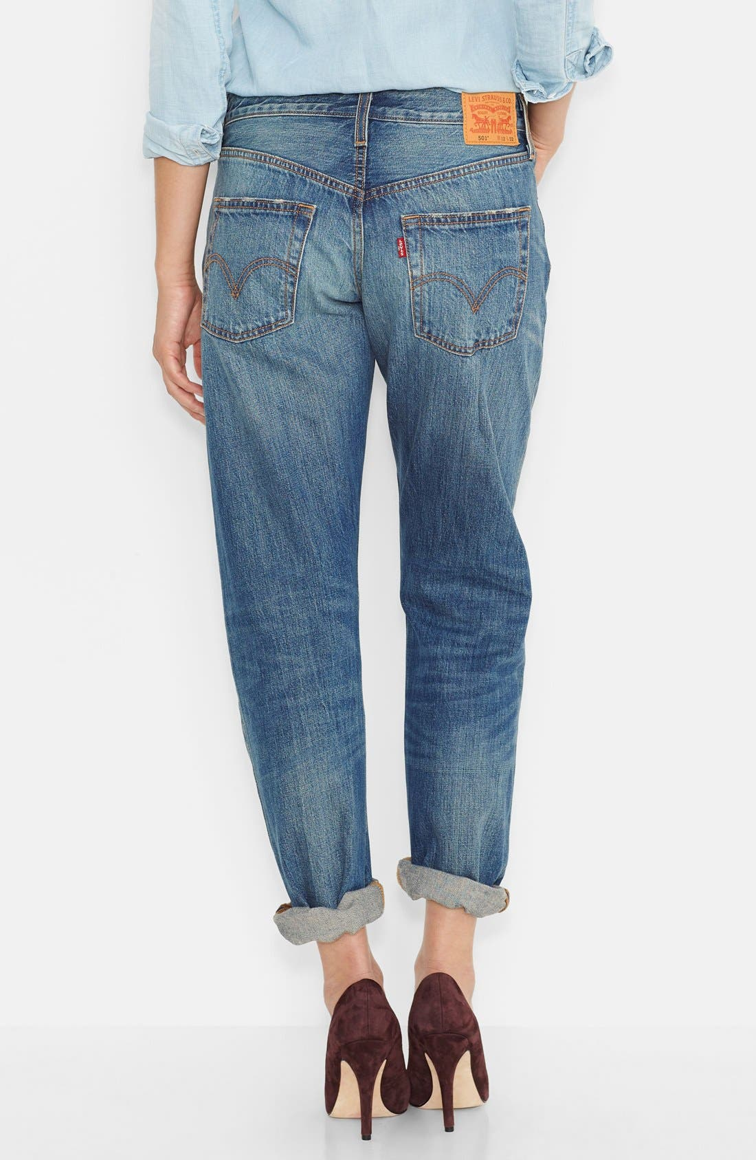 '501<sup>®</sup>' Boyfriend Jeans,                             Alternate thumbnail 3, color,                             400