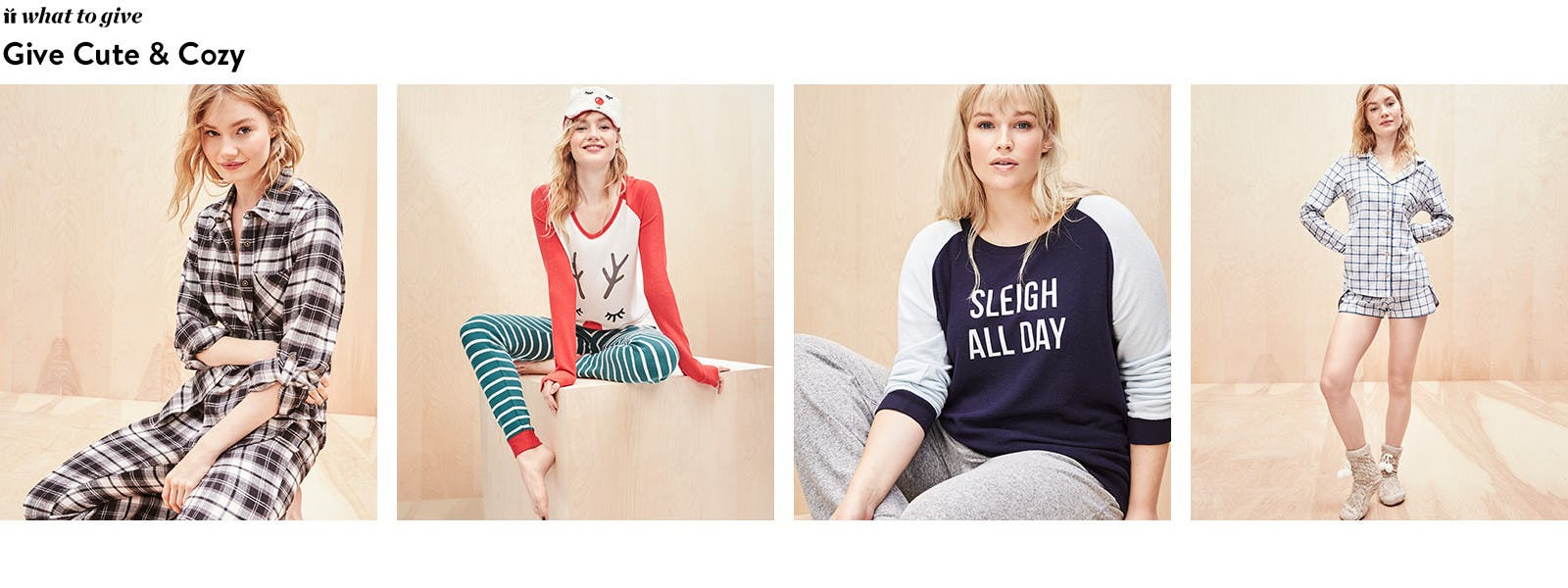 Give cute and cozy: PJ sets for her.