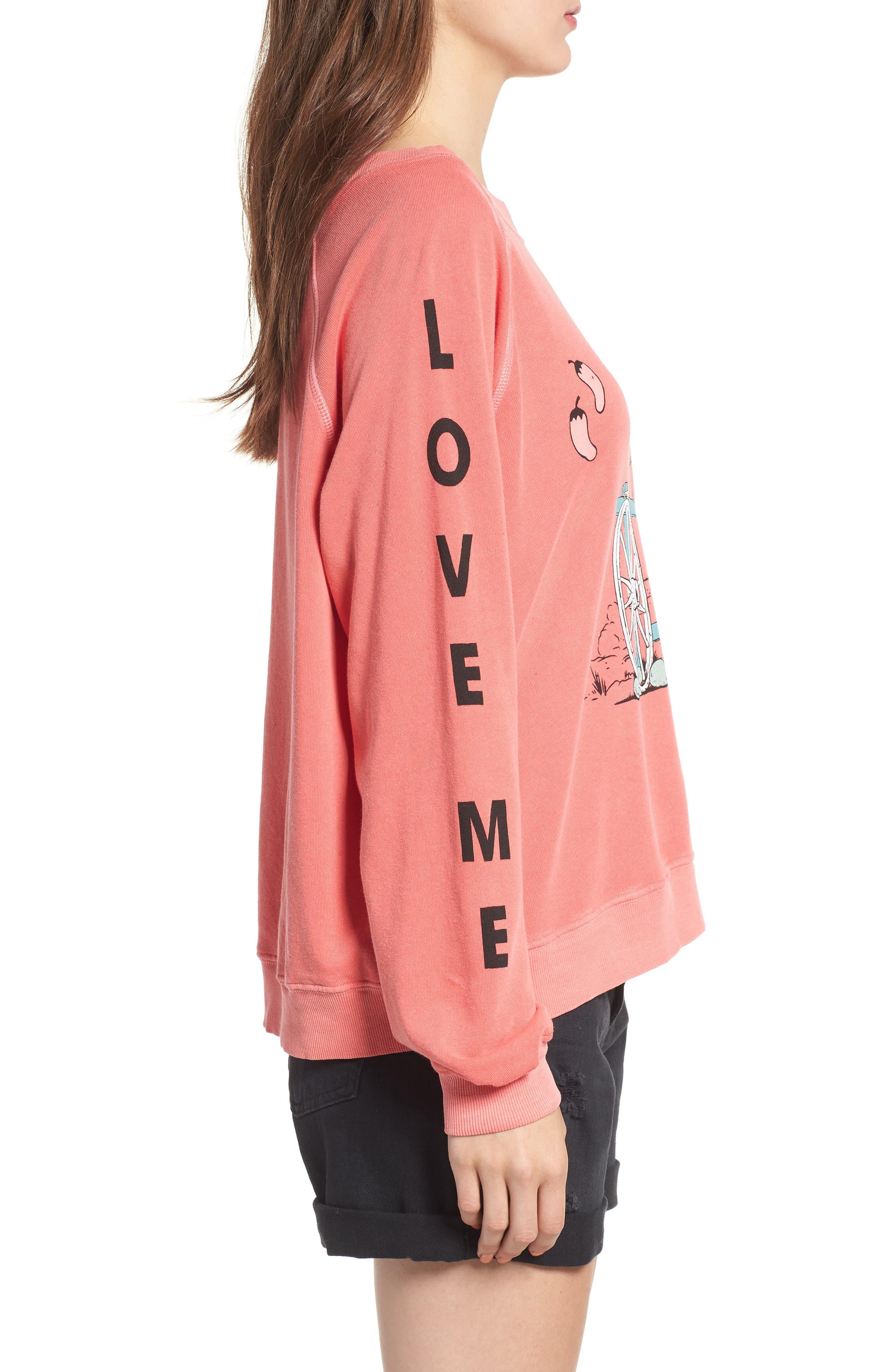 Love Me Tender Sommers Sweatshirt,                             Alternate thumbnail 3, color,                             PIGMENT HOT LIPSTICK