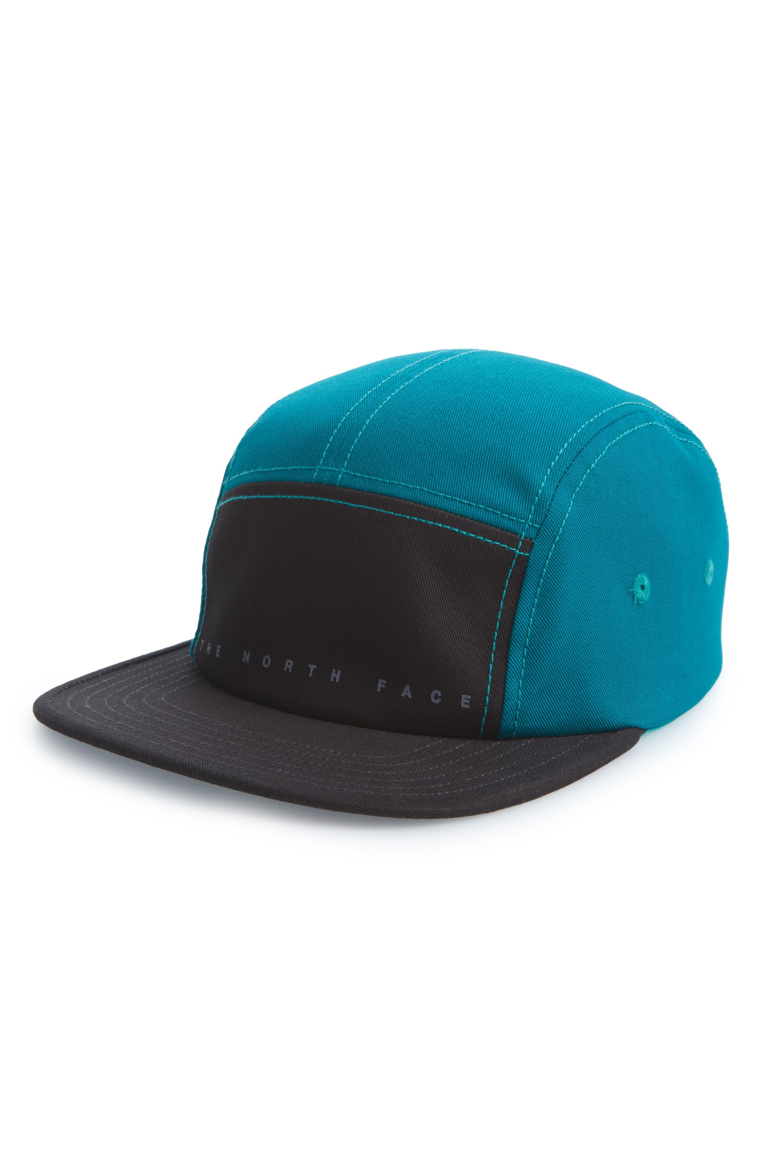 Five-Panel Baseball Cap,                             Main thumbnail 1, color,                             WEATHERED BLACK/ GREEN