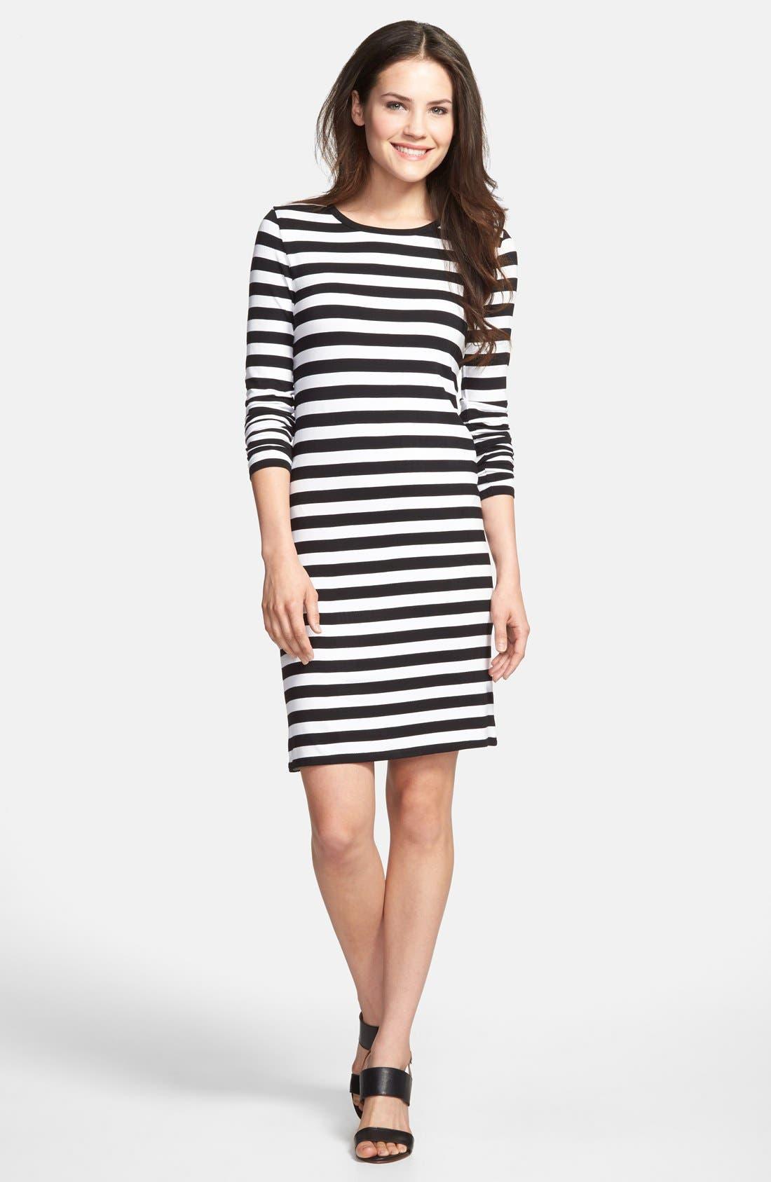 Stripe Long Sleeve Dress,                             Main thumbnail 1, color,                             001