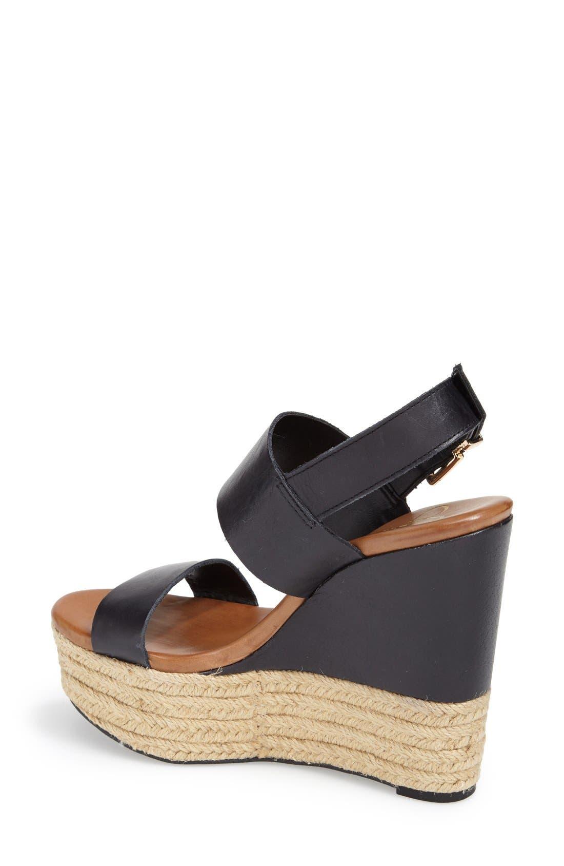 'Allyn' Wedge Platform Leather Sandal,                             Alternate thumbnail 4, color,                             001