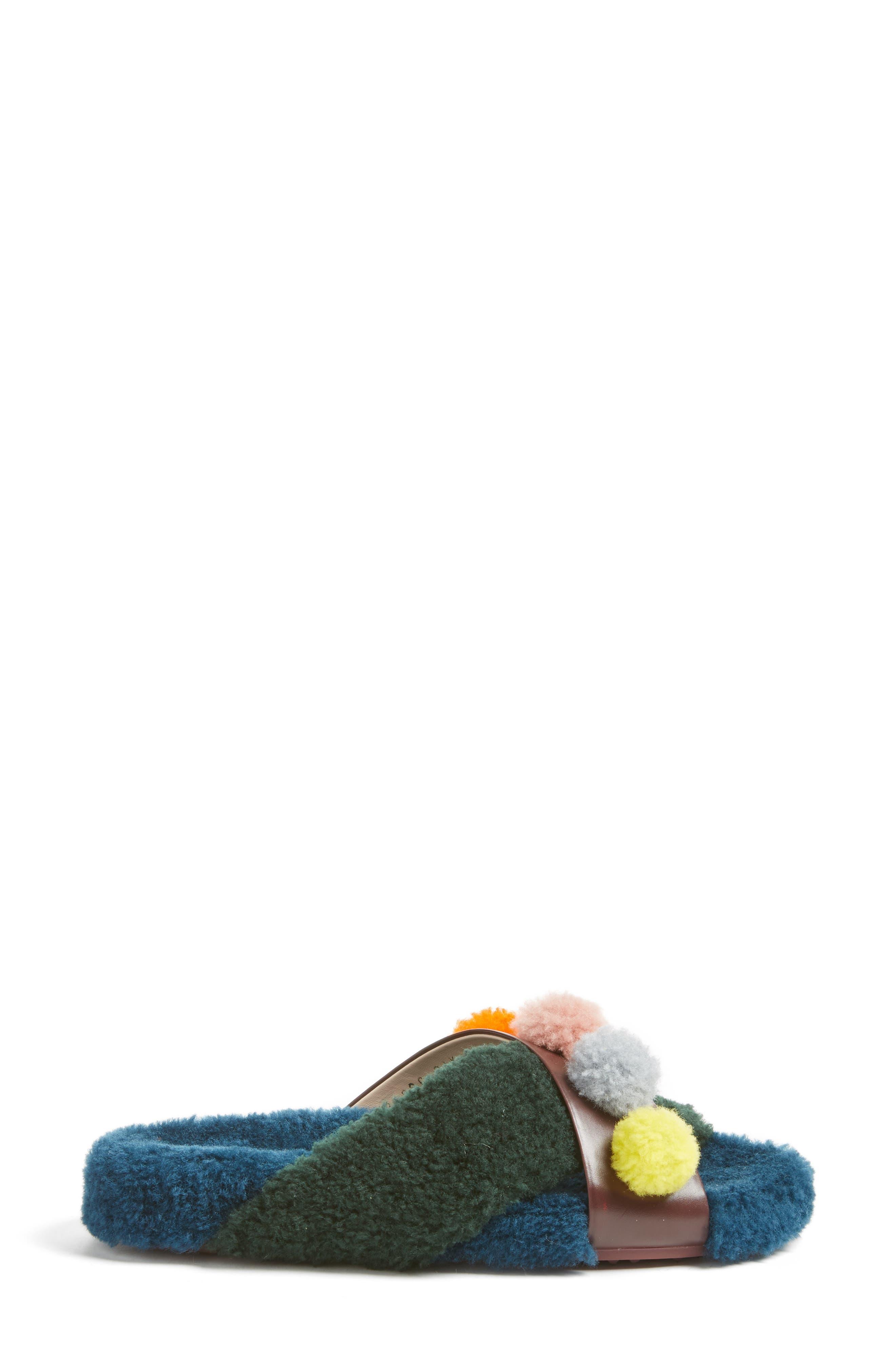 Genuine Shearling Slide Sandal,                             Alternate thumbnail 3, color,                             002