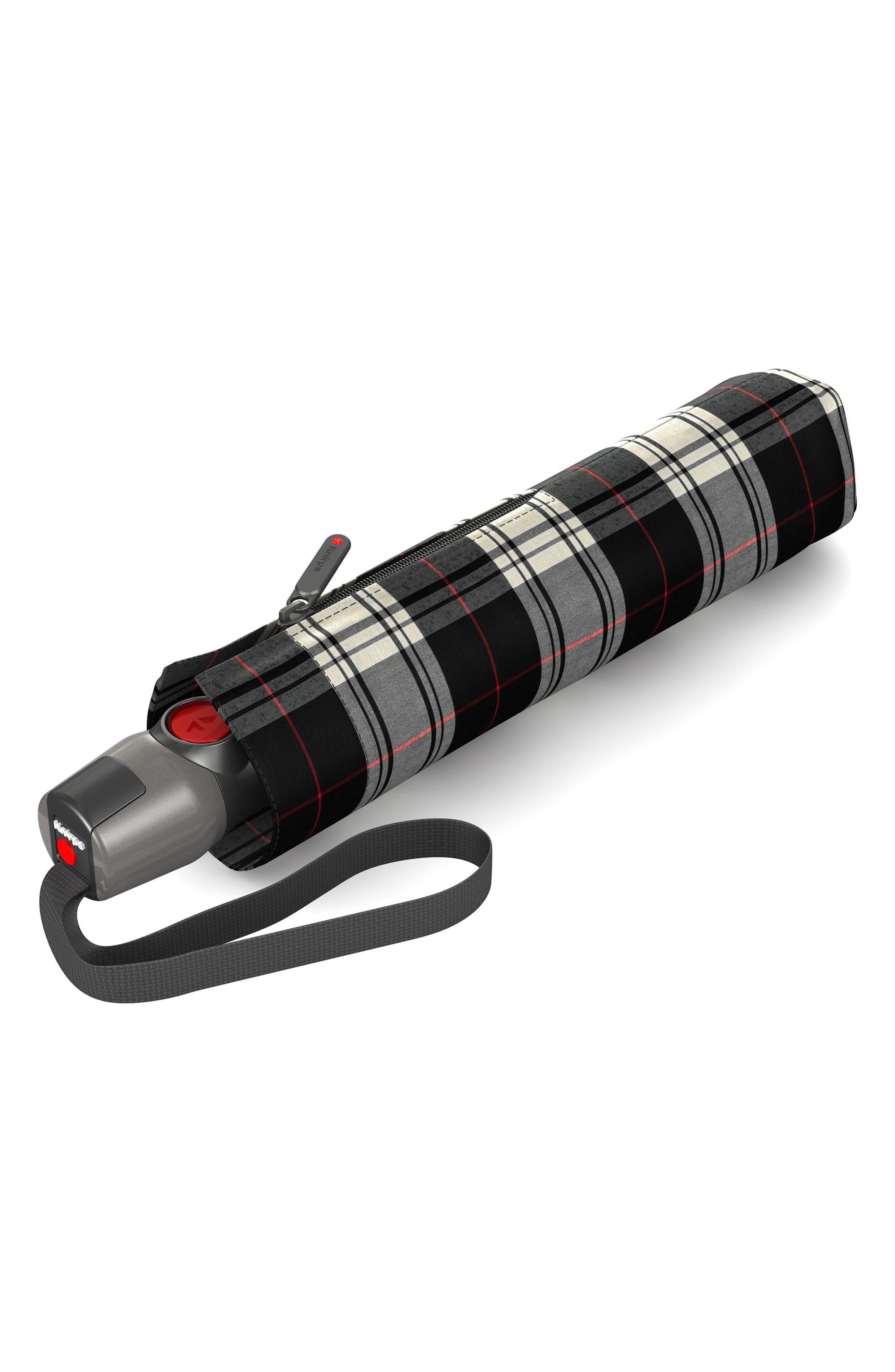 T200 Auto Open/Close Umbrella,                             Main thumbnail 1, color,                             BLACK/WHITE CHECK