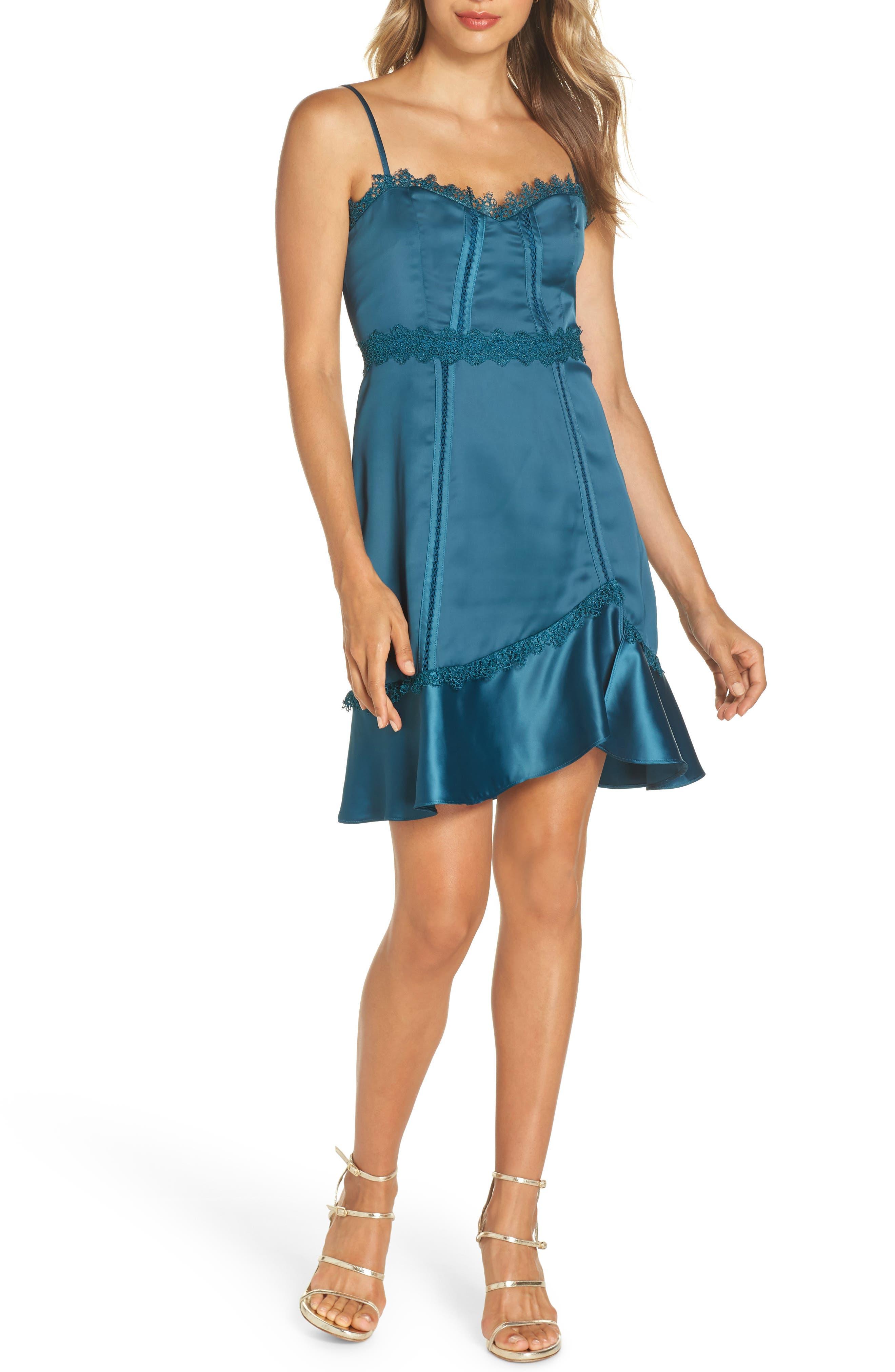 Betty Satin & Soutache Party Dress,                         Main,                         color, TEAL