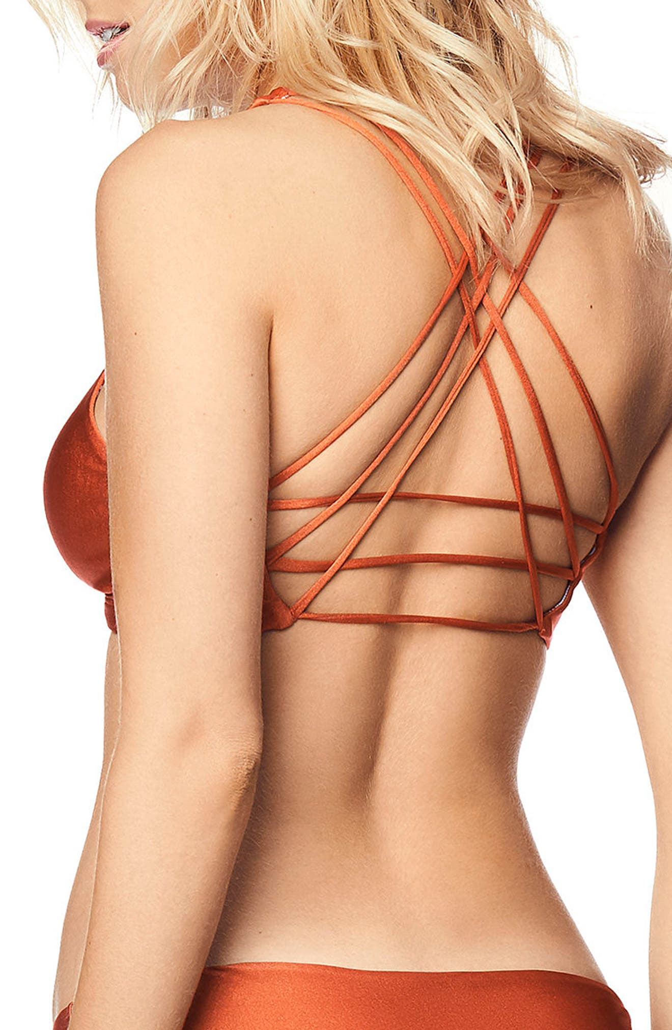 Shimmering Valley Reversible Fixed Halter Bikini Top,                             Alternate thumbnail 2, color,                             CHESTNUT