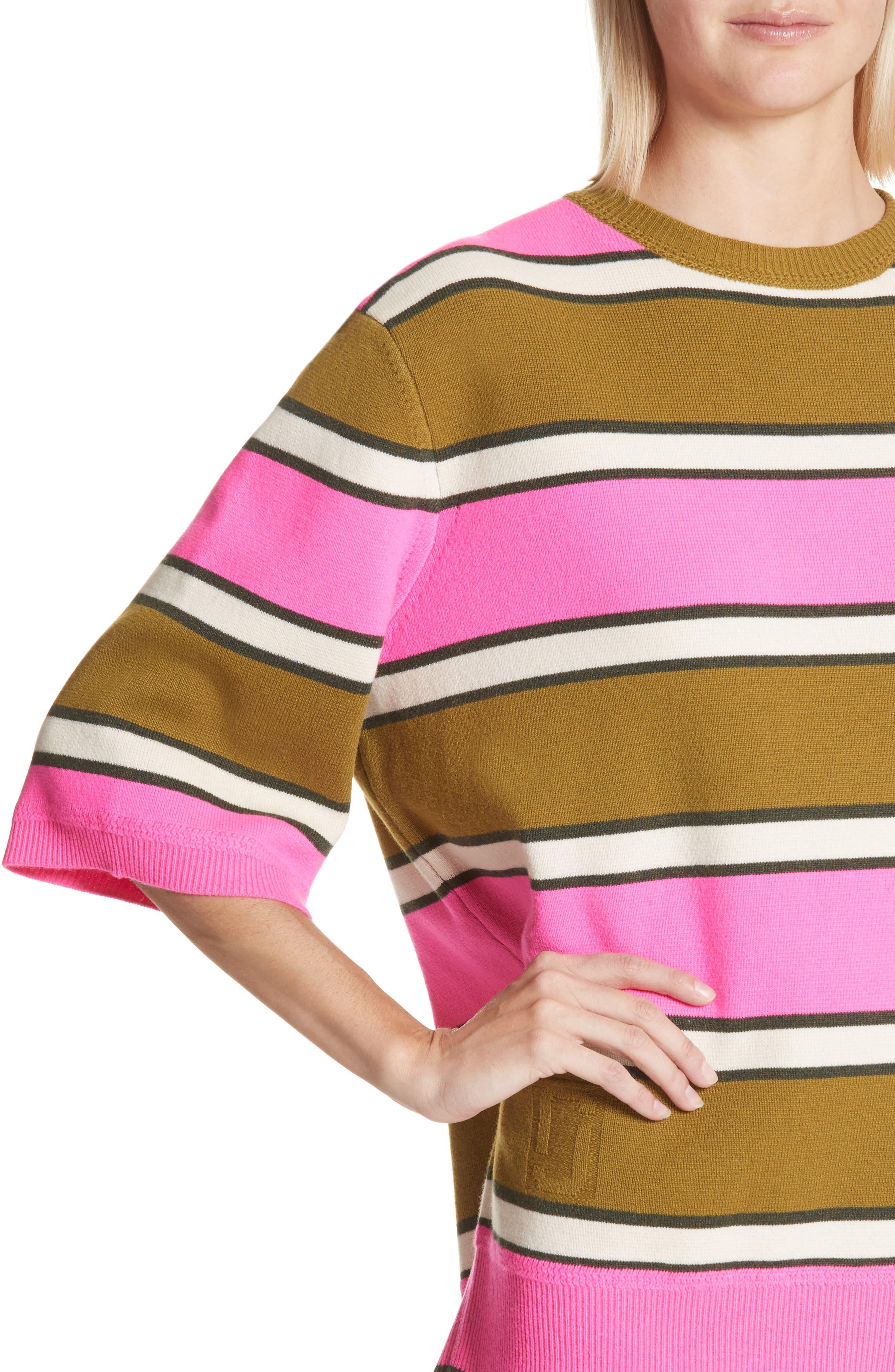 Oversize Stripe Cashmere Sweater,                             Alternate thumbnail 4, color,                             651