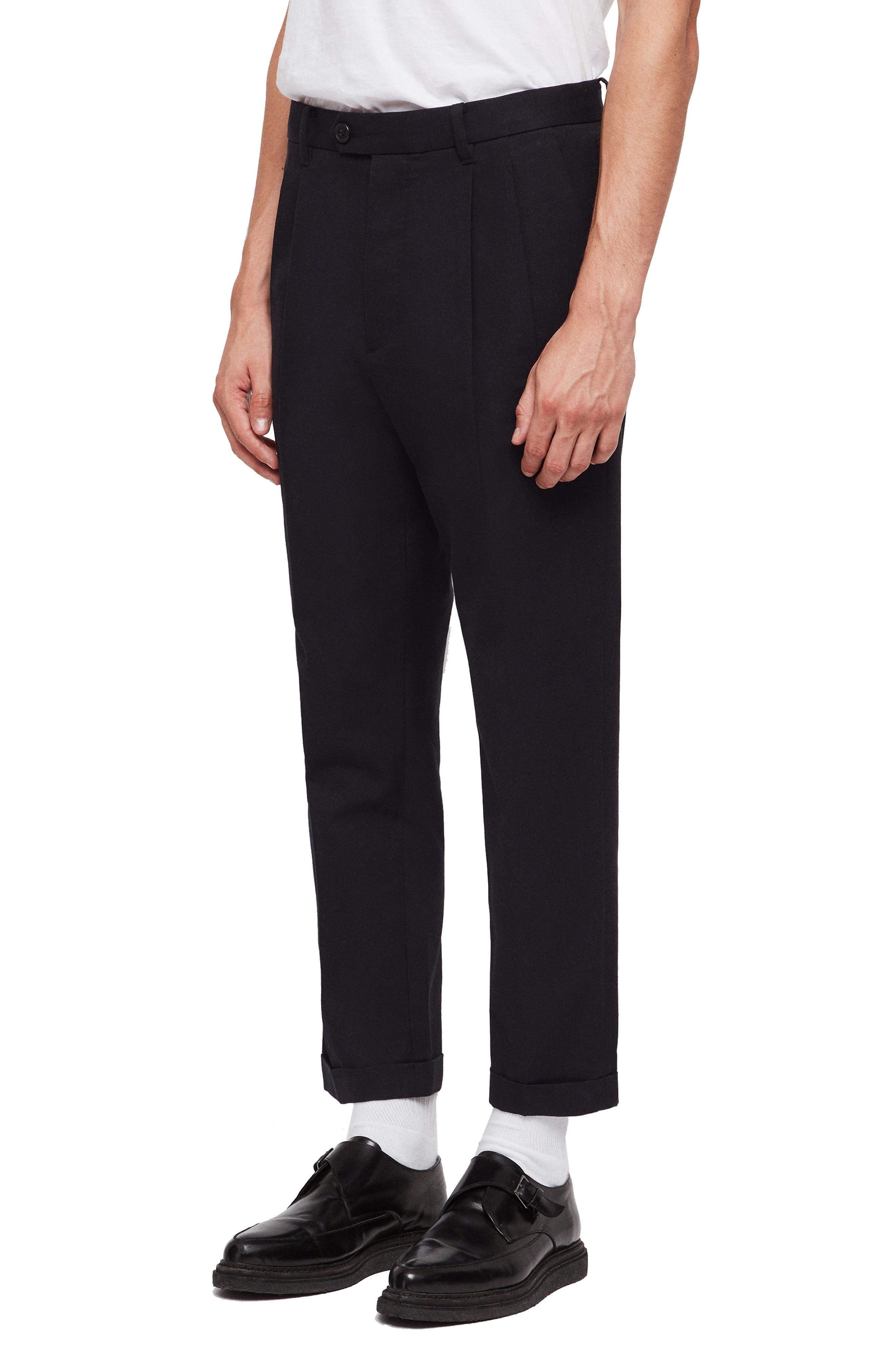 ALLSAINTS,                             Tallis Pleated Cotton & Wool Trousers,                             Alternate thumbnail 6, color,                             BLACK