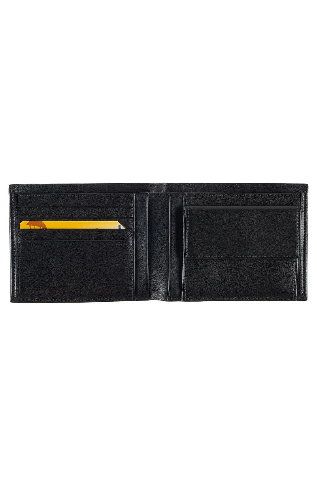 Monaco Global Leather Wallet with Coin Pocket,                             Alternate thumbnail 2, color,                             BLACK