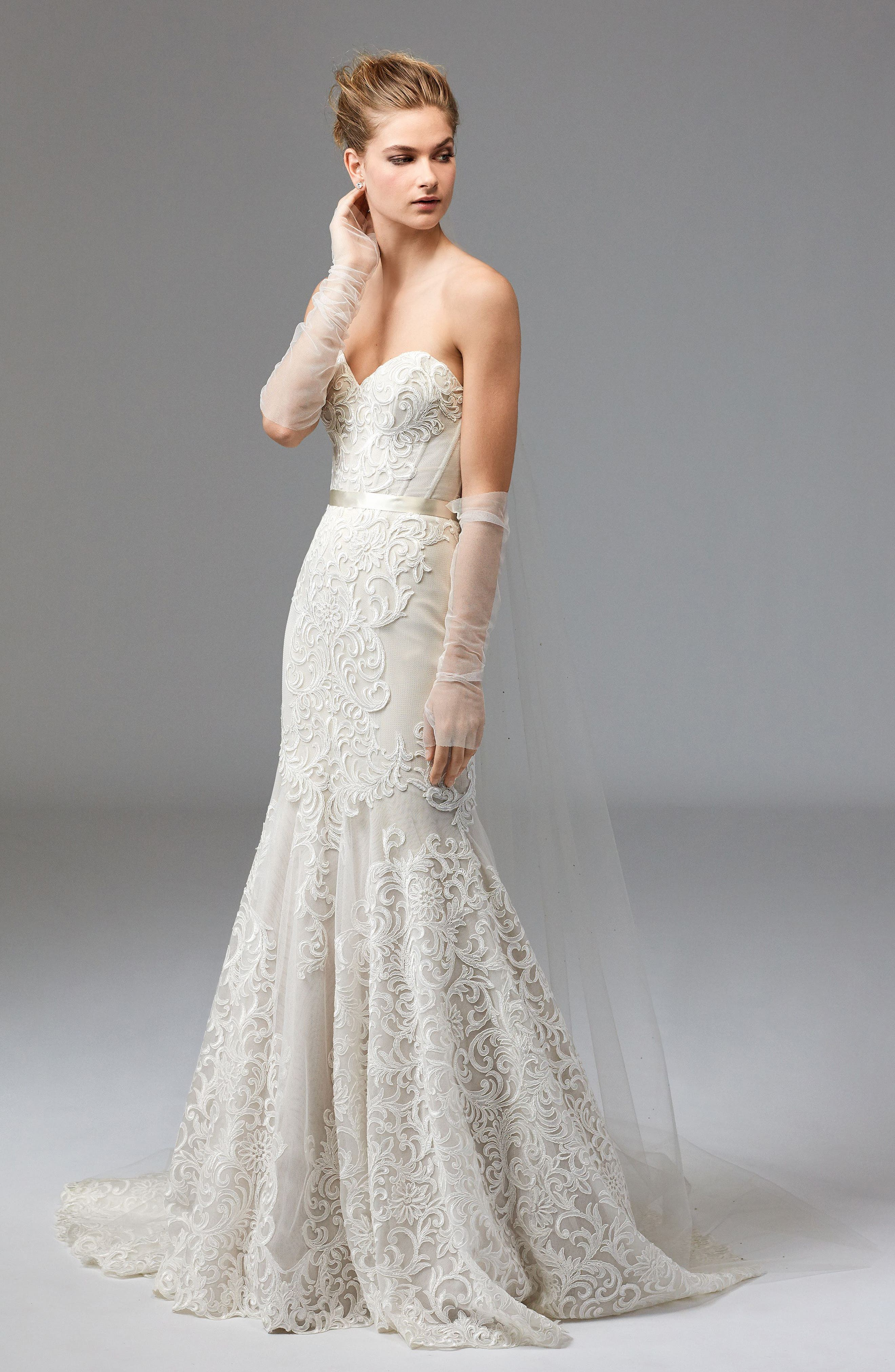 Alice Embroidered Strapless Trumpet Gown,                             Alternate thumbnail 3, color,                             IVORY/CHAMPAGNE/VANILLA BEAN