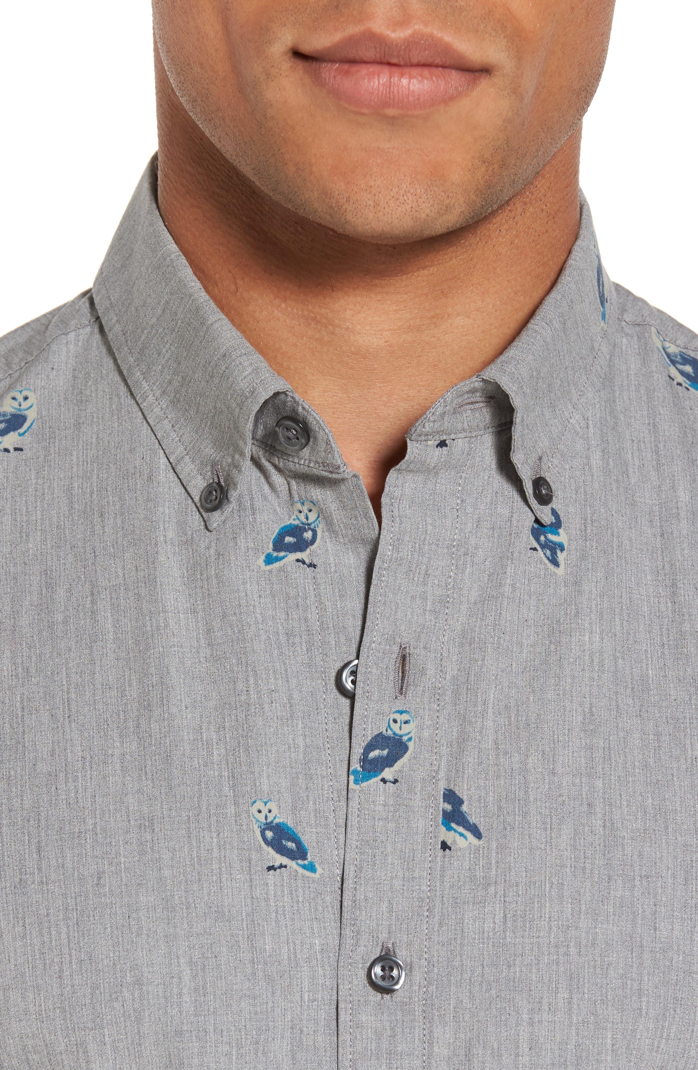 Slim Fit Owl Print Sport Shirt,                             Alternate thumbnail 4, color,                             020