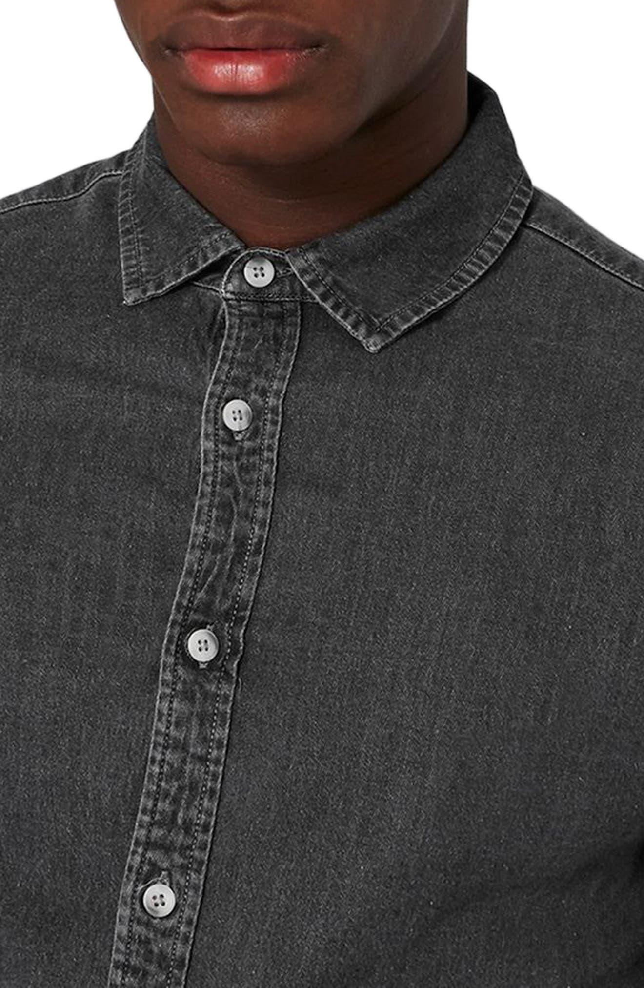 Muscle Fit Bleach Denim Shirt,                             Alternate thumbnail 3, color,                             020