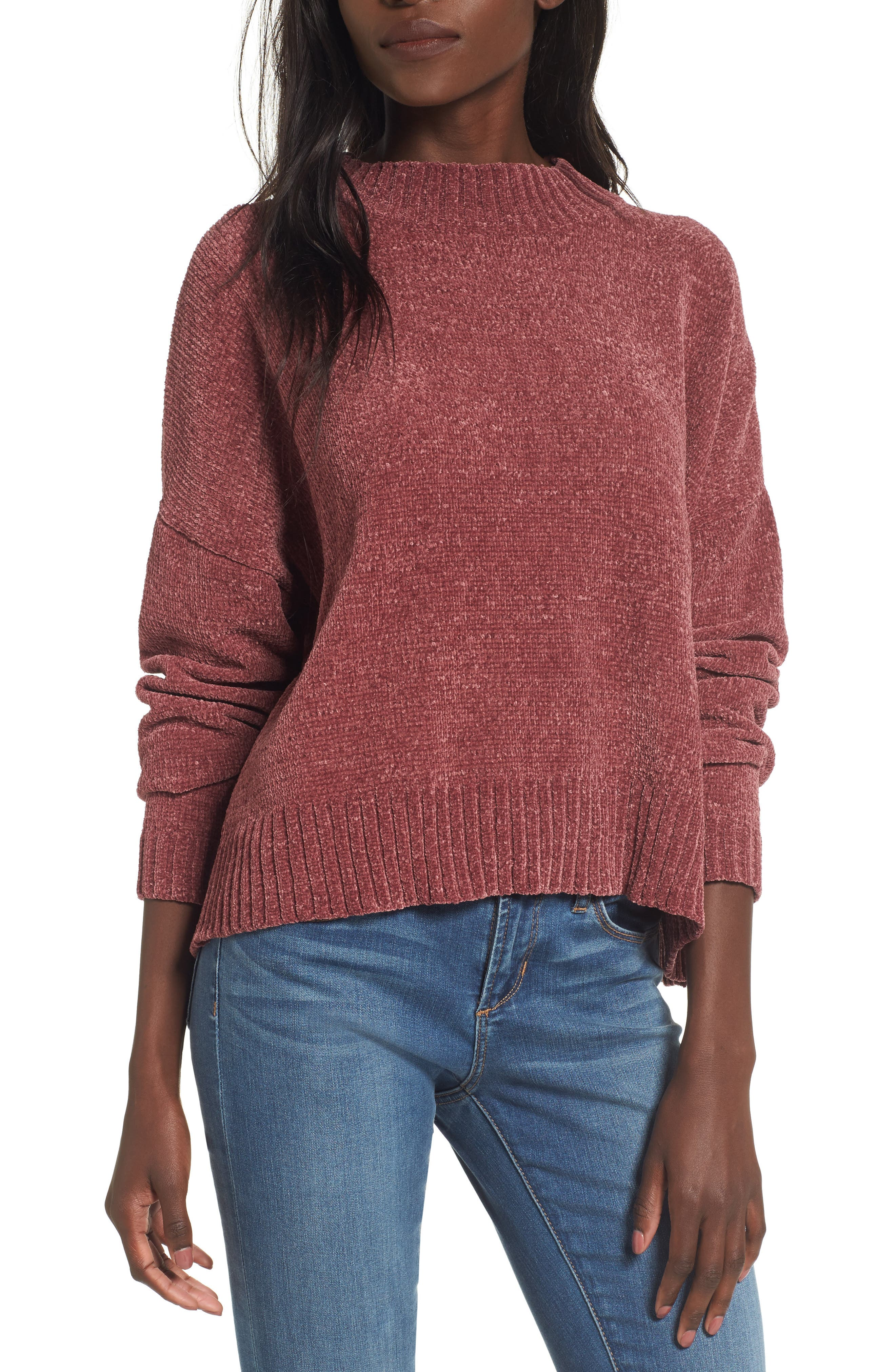 Chenille Funnel Neck Sweater,                             Main thumbnail 5, color,
