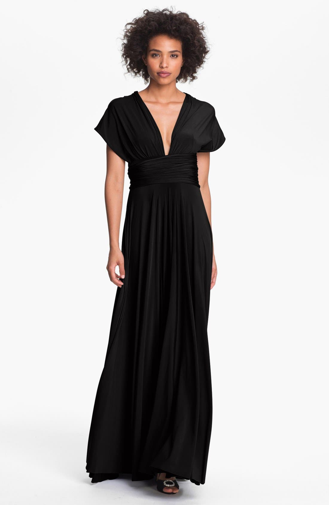 TWOBIRDS BRIDESMAID twobirds Convertible Jersey Gown, Main, color, 001