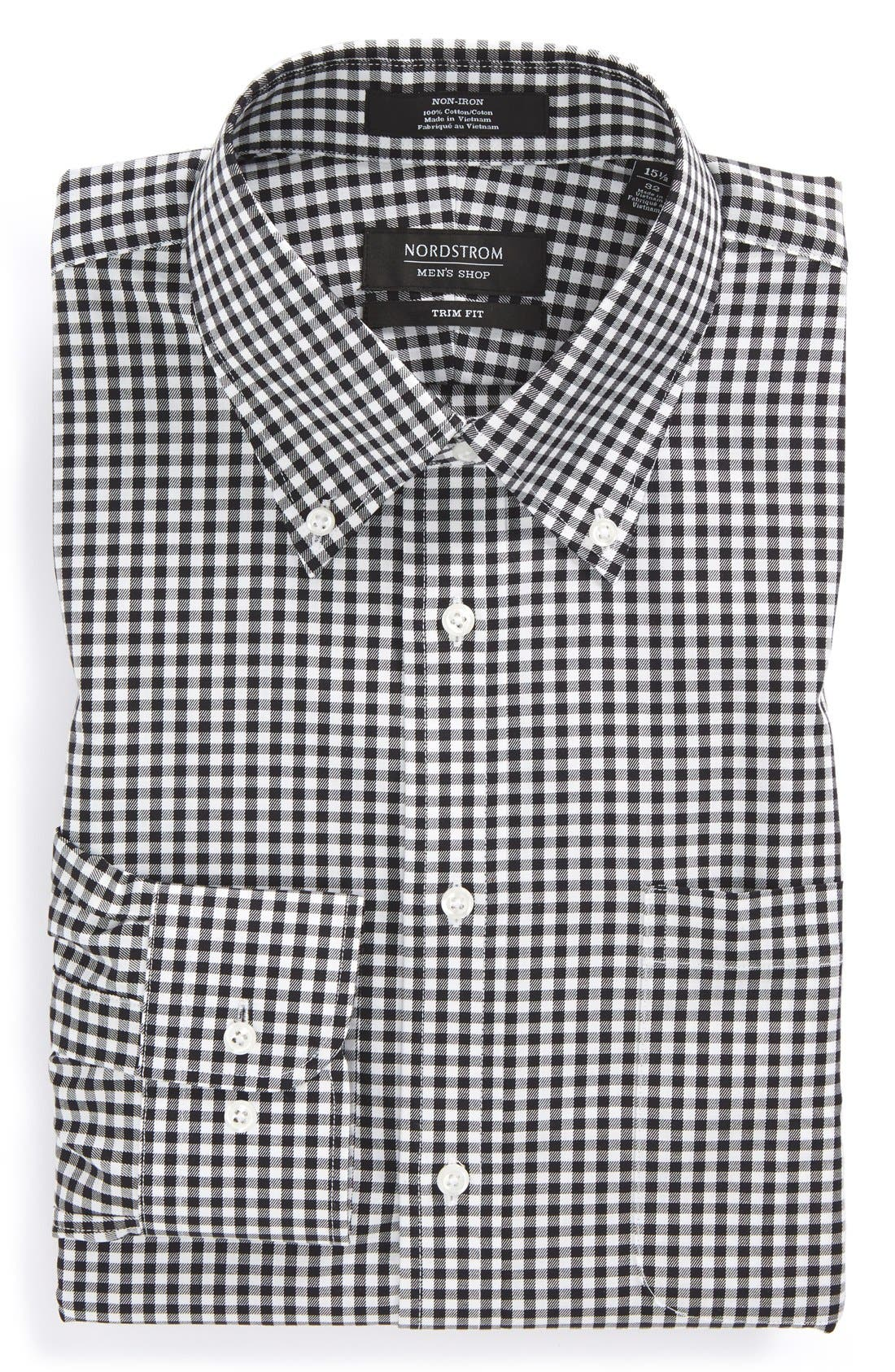 Trim Fit Non-Iron Gingham Dress Shirt,                             Alternate thumbnail 4, color,                             BLACK ROCK