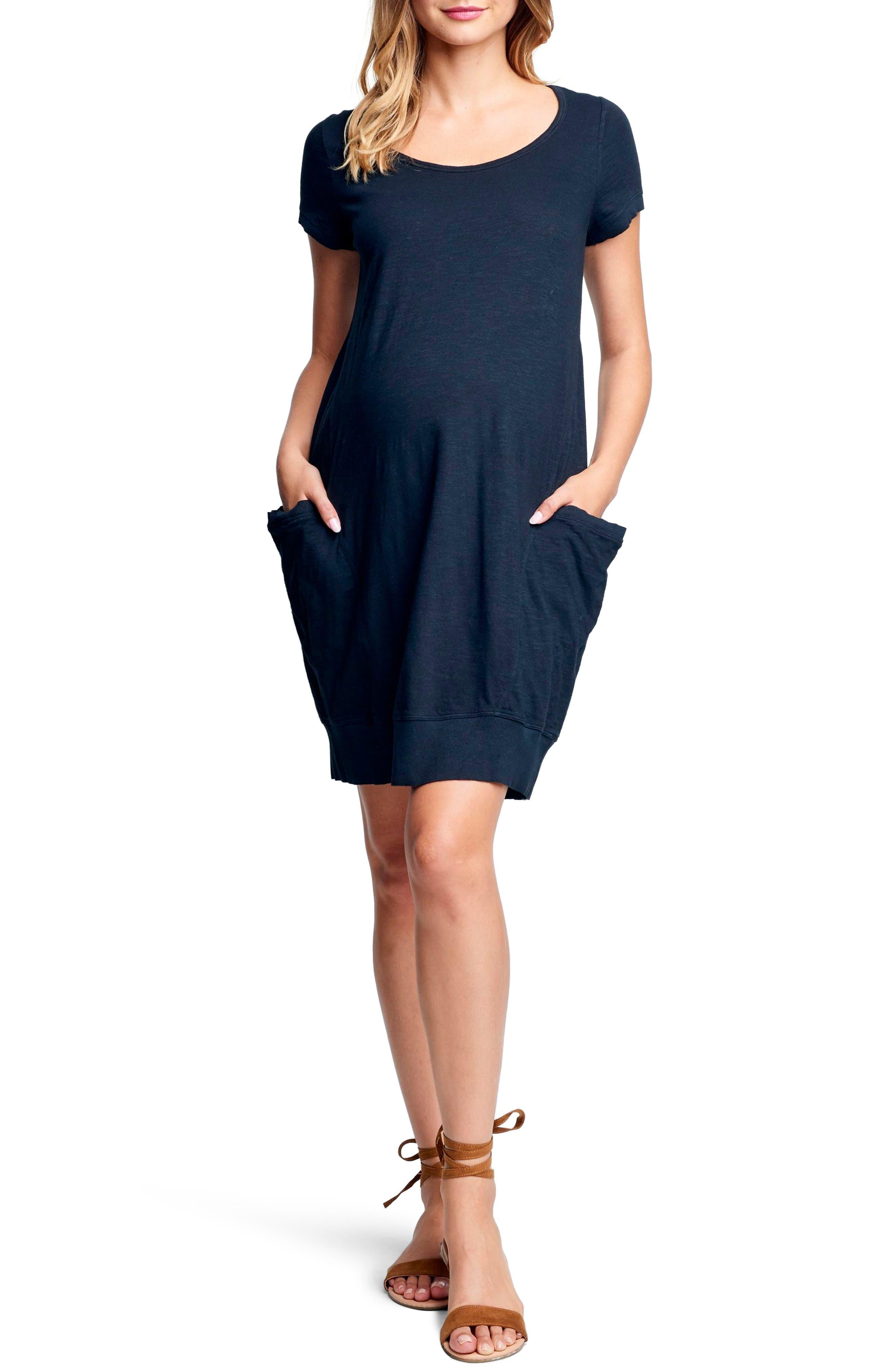 Maternal America Side Pocket Maternity Dress, Black